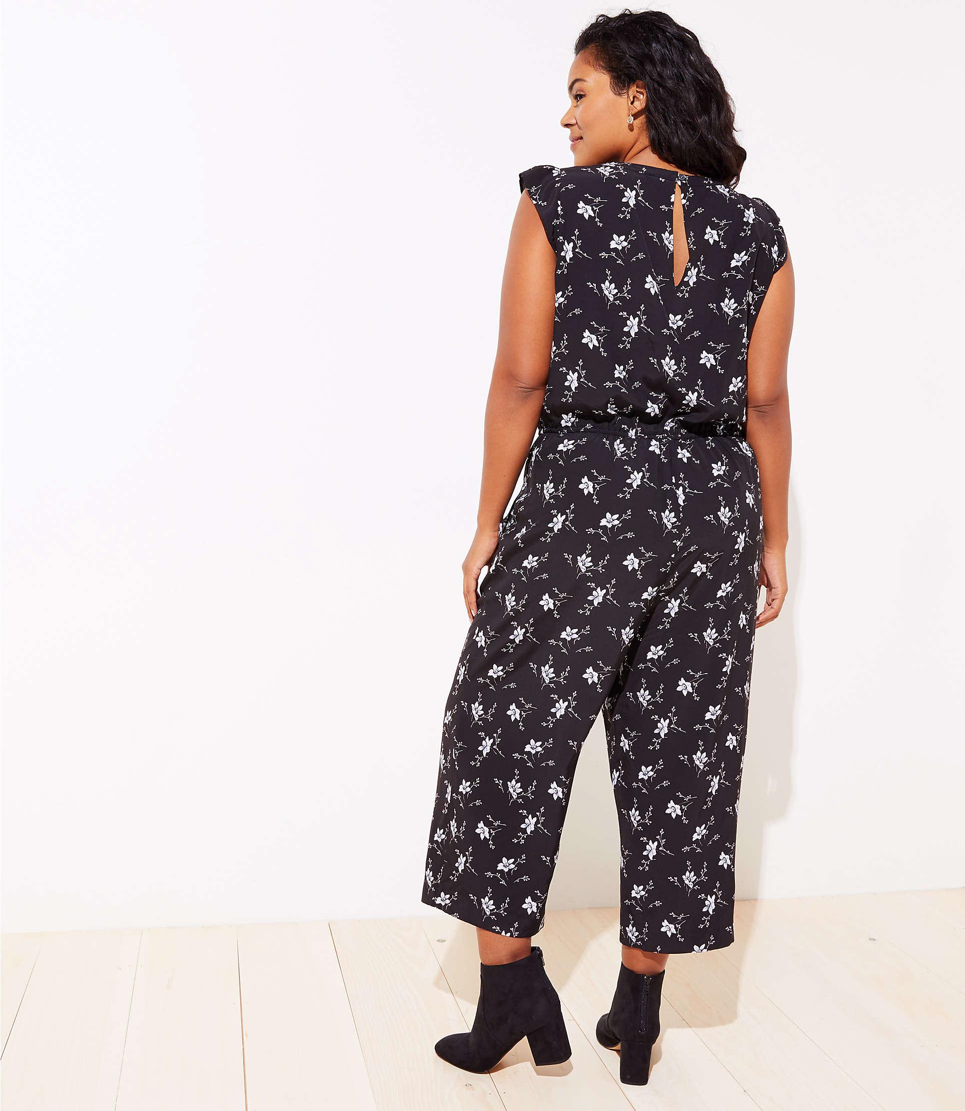 5235b965f50 LOFT - Black Plus Floral Ruffle Drawstring Jumpsuit - Lyst. View fullscreen