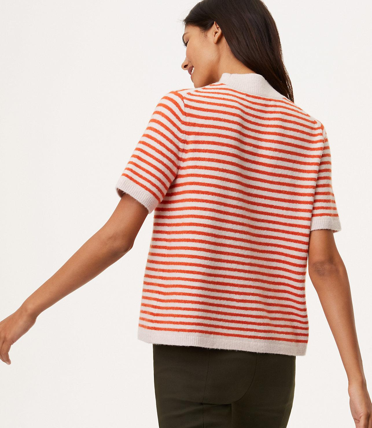 Lyst Loft Striped Mockneck Short Sleeve Sweater