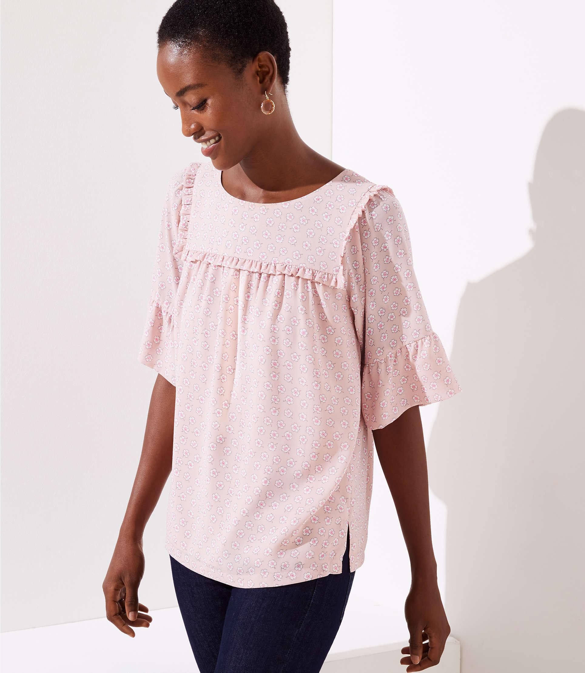 ce7ea6e45a7a43 LOFT Ruffle Yoke Bell Cuff Top in Pink - Save 20% - Lyst