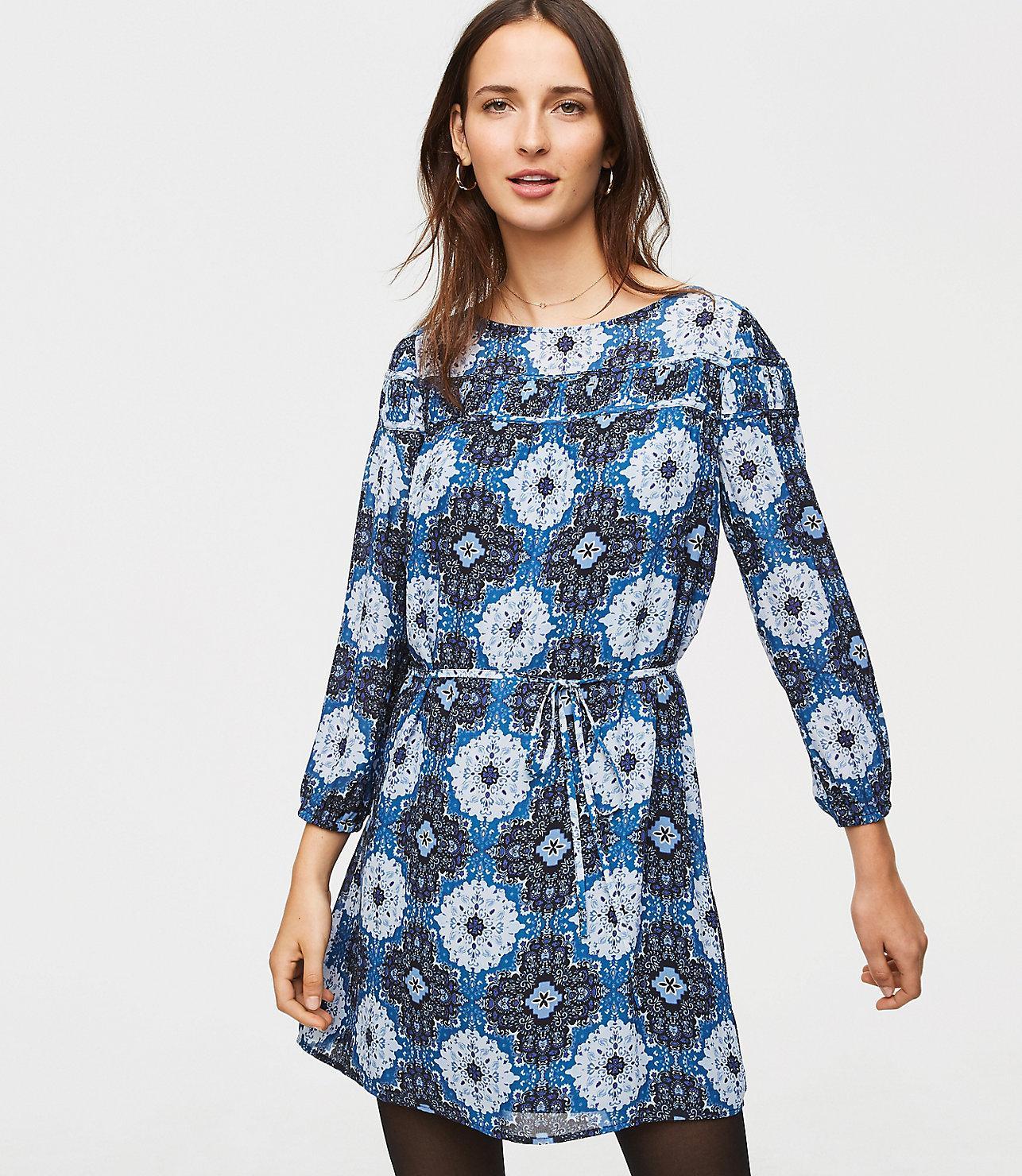 7e98f5b18c4 Lyst - LOFT Medallion Shirred Yoke Dress in Blue