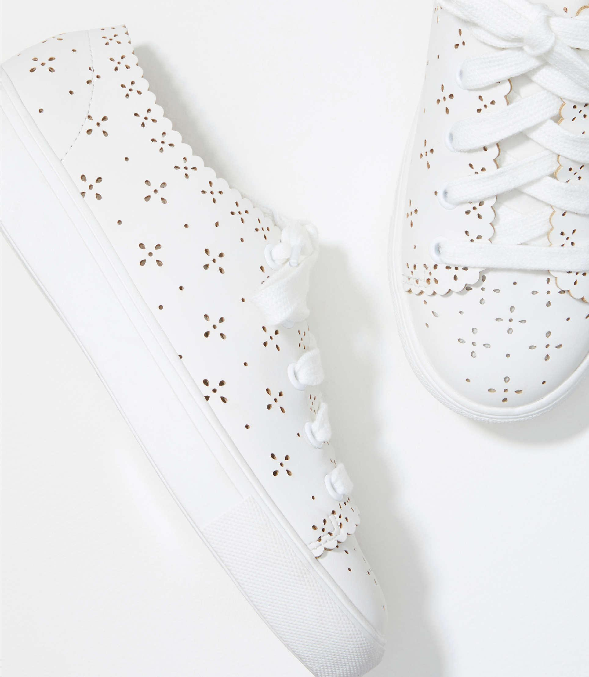 LOFT Eyelet Lace Up Sneakers in White