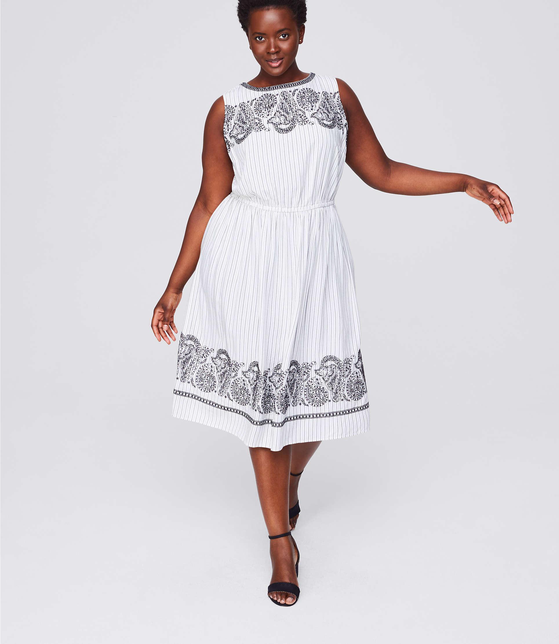 74f46c0a8bbc9 Lyst - LOFT Plus Embroidered Stripe Midi Dress in White