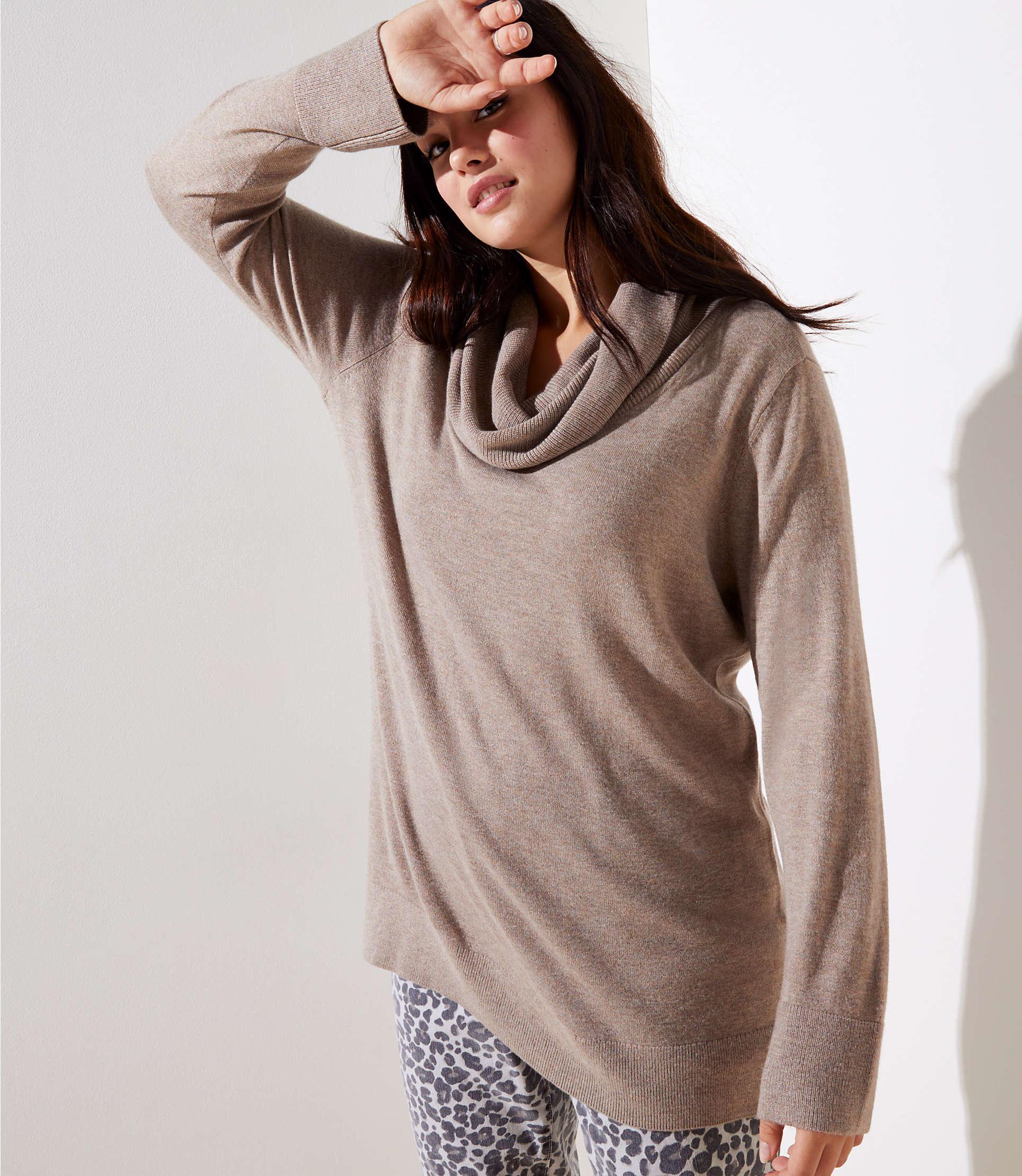 4daeb48e9db Loft Plus Cowl Neck Tunic Sweater in Brown - Lyst