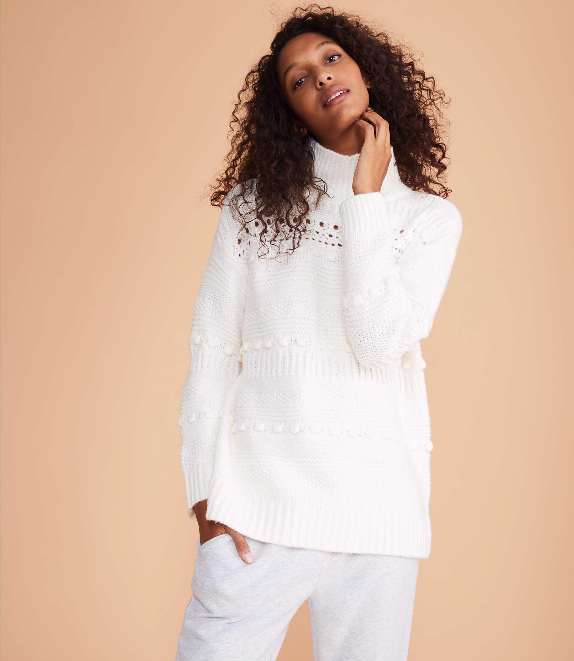 a994be24ba3 Lyst - LOFT Lou   Grey Winterweave Turtleneck Sweater in White