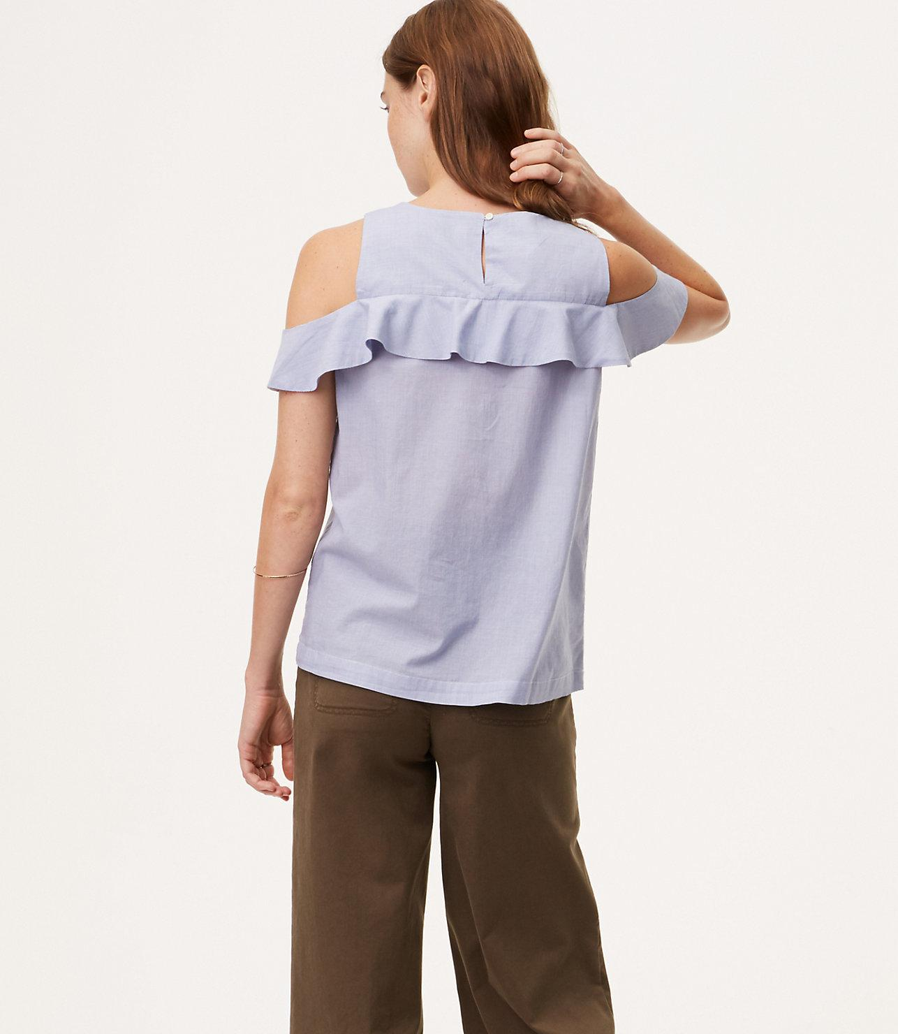 faf74be7bbe03c Lyst - LOFT Embroidered Flounce Cold Shoulder Top in Blue