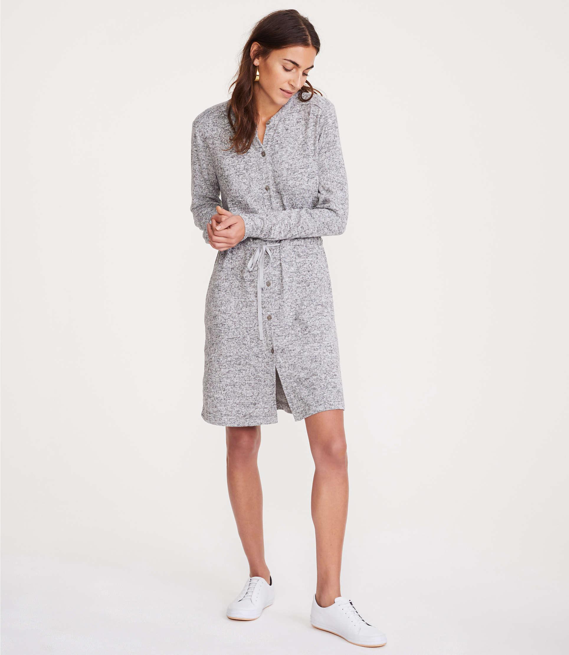 6e297509407 LOFT - Gray Lou   Grey Brushmarl Shirtdress - Lyst. View fullscreen
