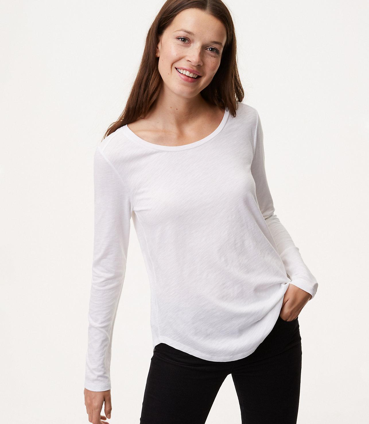 617a0b94e0d61 Lyst - LOFT Long Sleeve Vintage Soft Tee in White