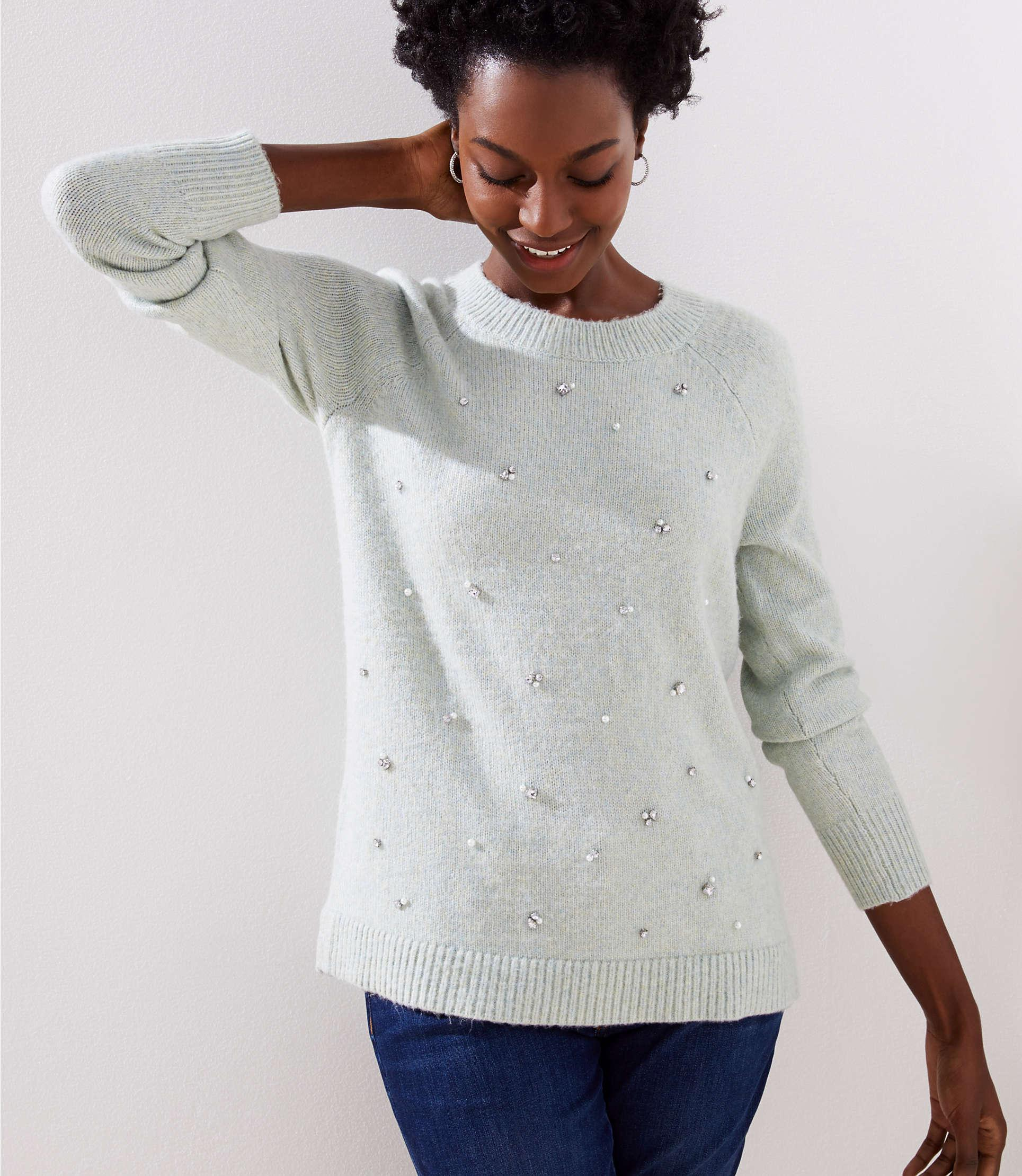 ce75c6a9fc5 LOFT Pearlized Crystal Sweater in Gray - Lyst