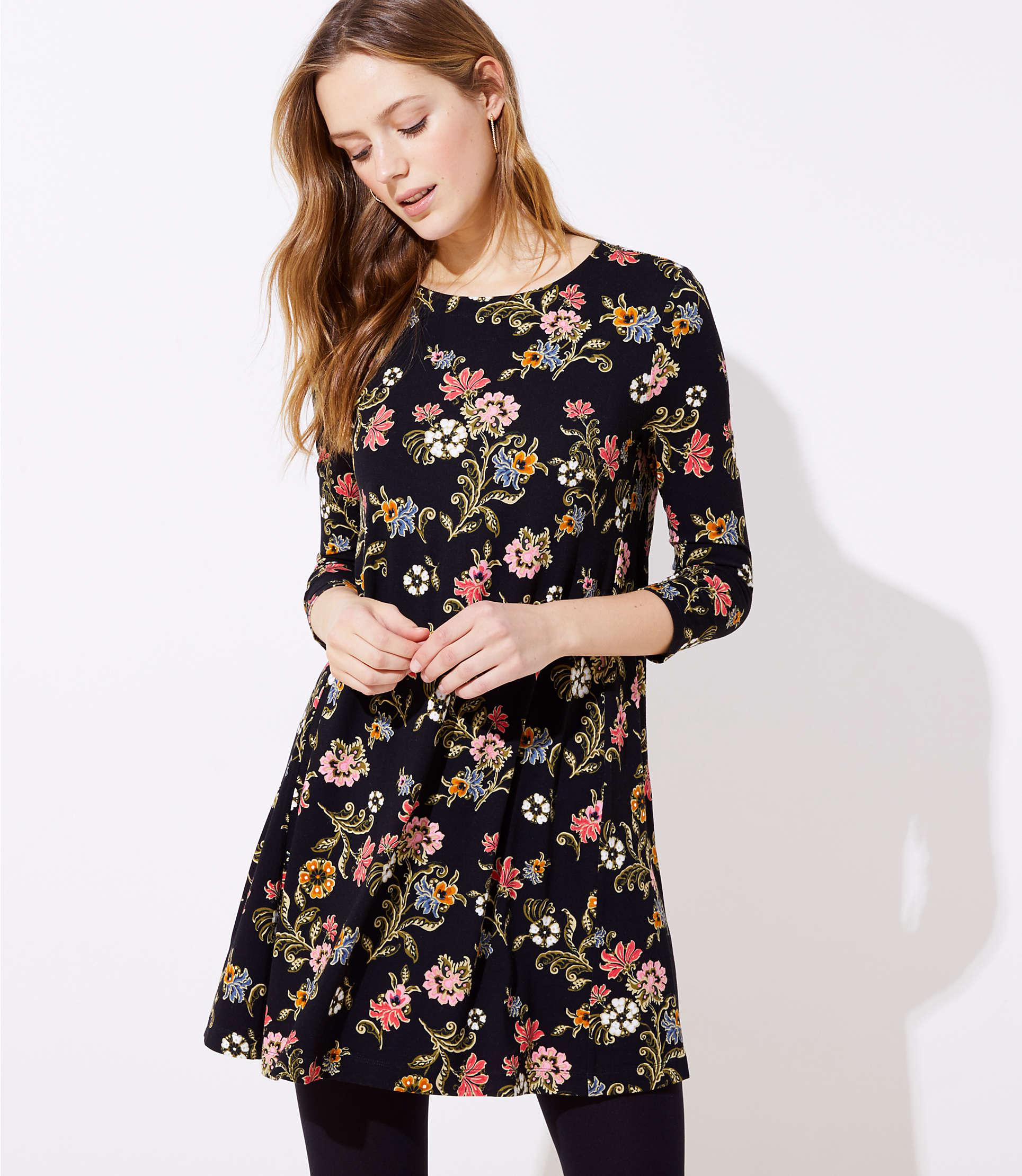 eab203ada882 LOFT Floral 3/4 Sleeve Swing Dress in Black - Save 42% - Lyst