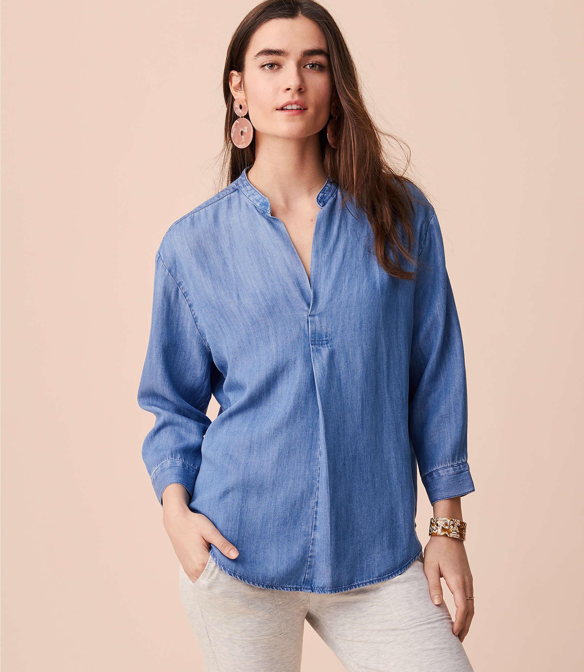 23ea0c0b LOFT Lou & Grey Chambray Pop On Shirt in Blue - Lyst