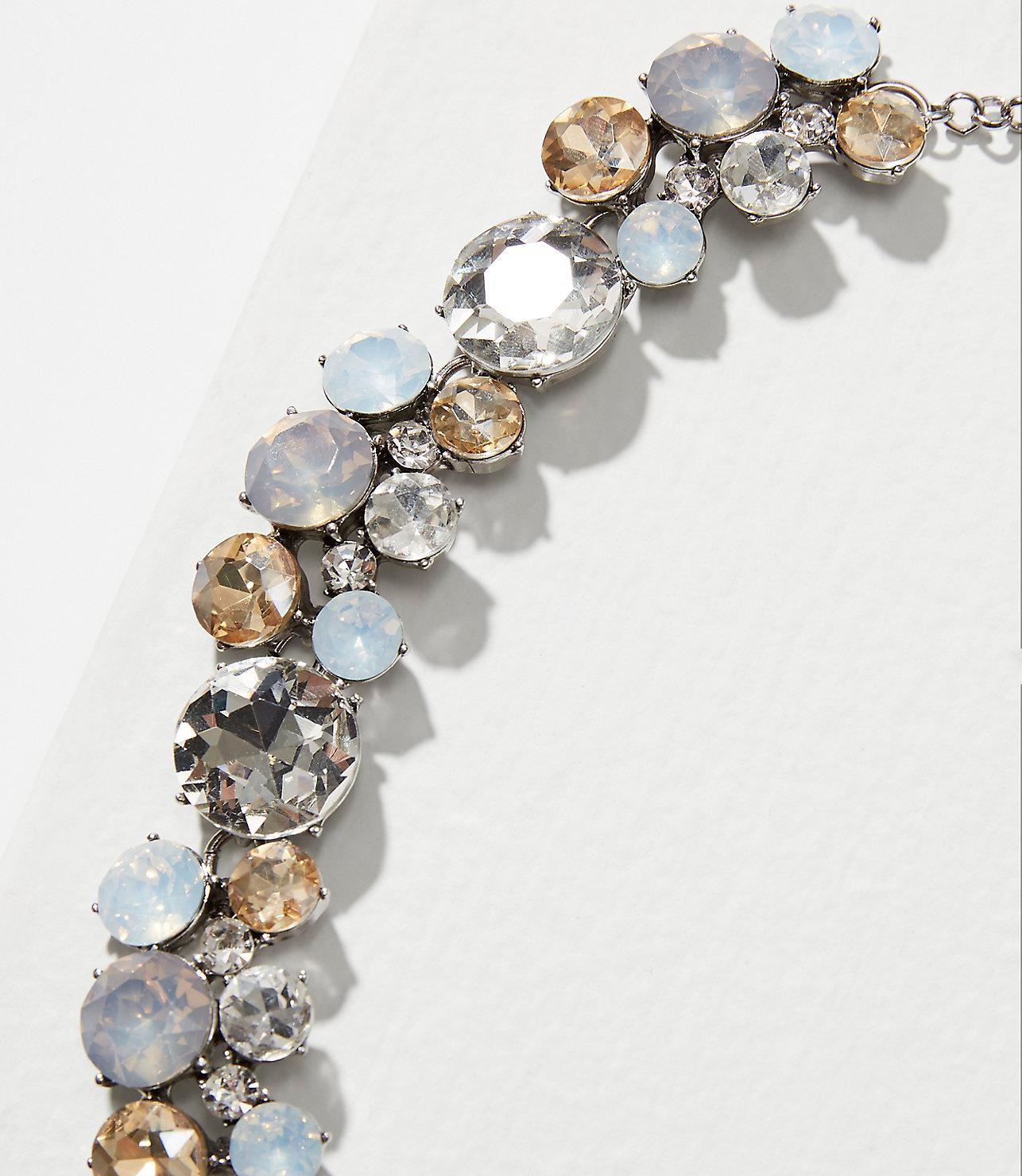 LOFT Mixed Crystal Statement Necklace in Soft Silver (Metallic)