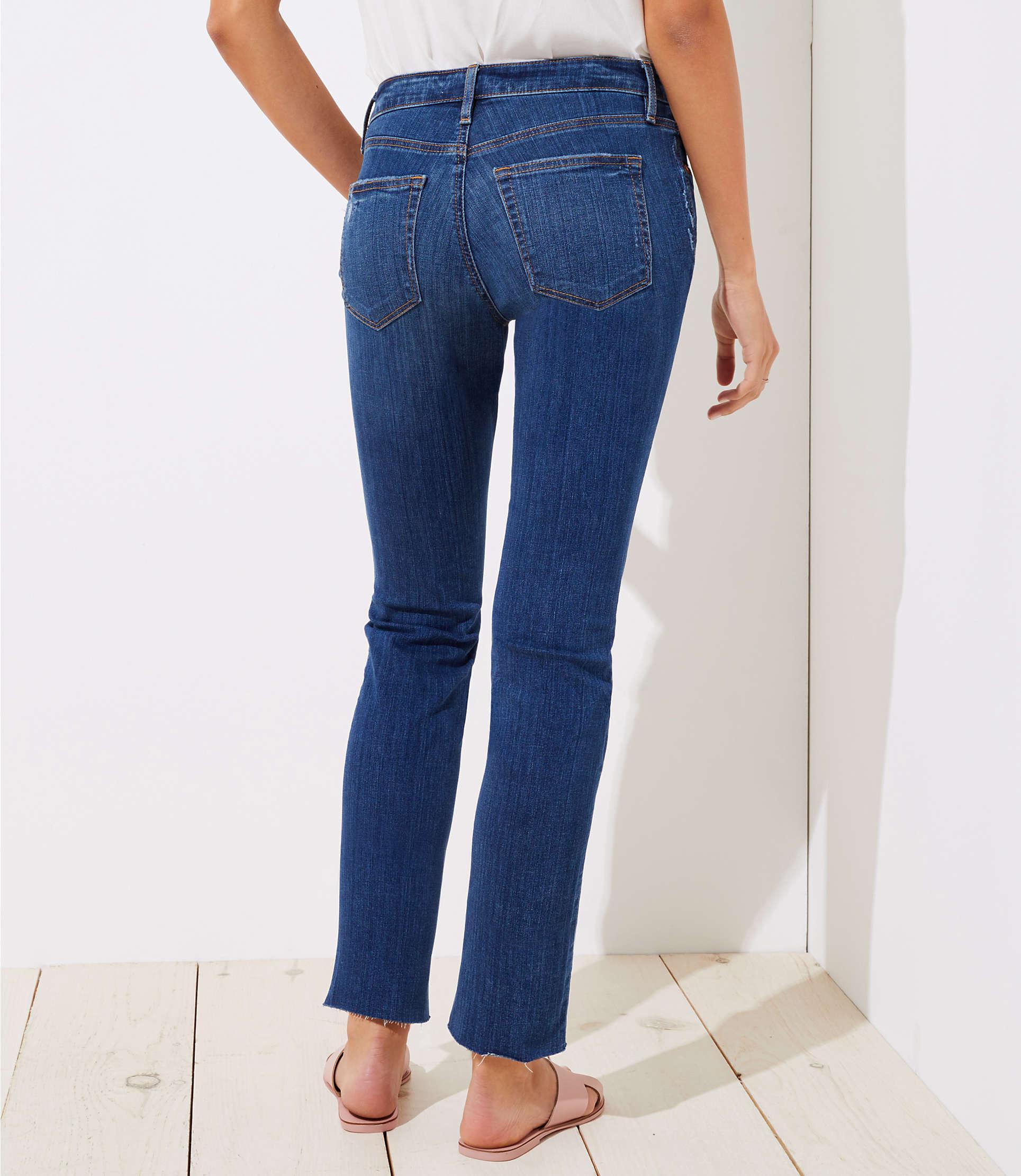 LOFT Denim Curvy Destructed Straight Leg Jeans In Mid Indigo Wash in Blue