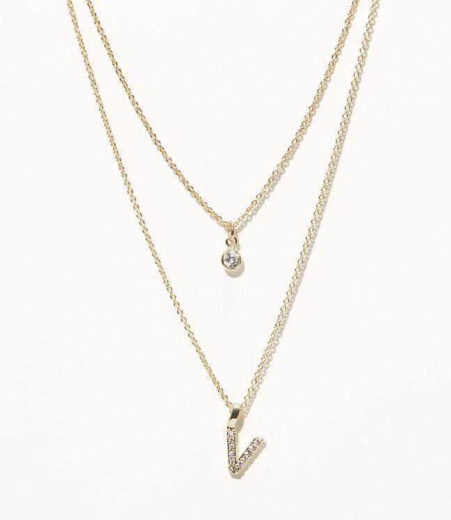 9169d54c176f2 LOFT Metallic Layered Pave Initial Necklace