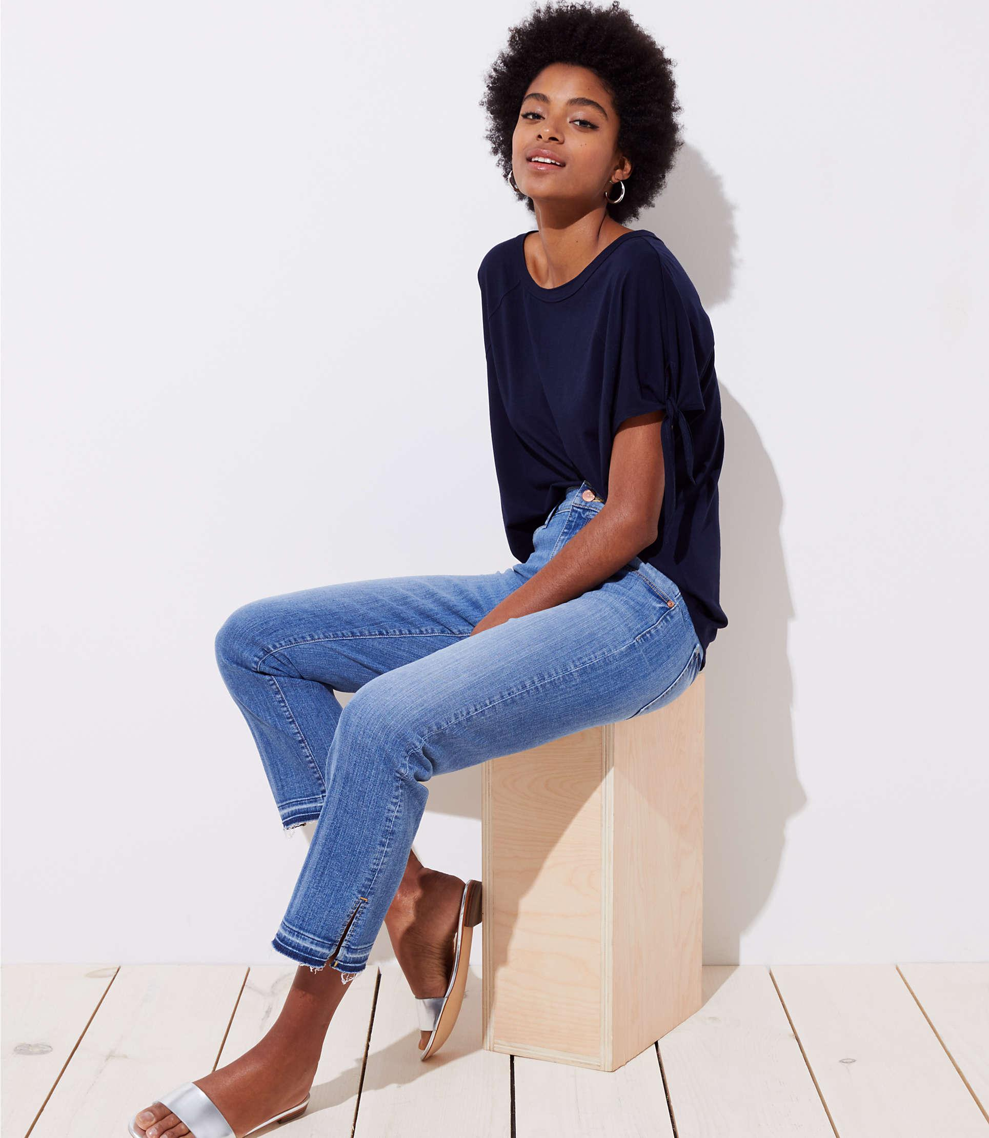 eeabe16c95dc6 Loft The Crop Slit Cuff Jeans In Mid Staple Indigo Wash in Blue - Lyst