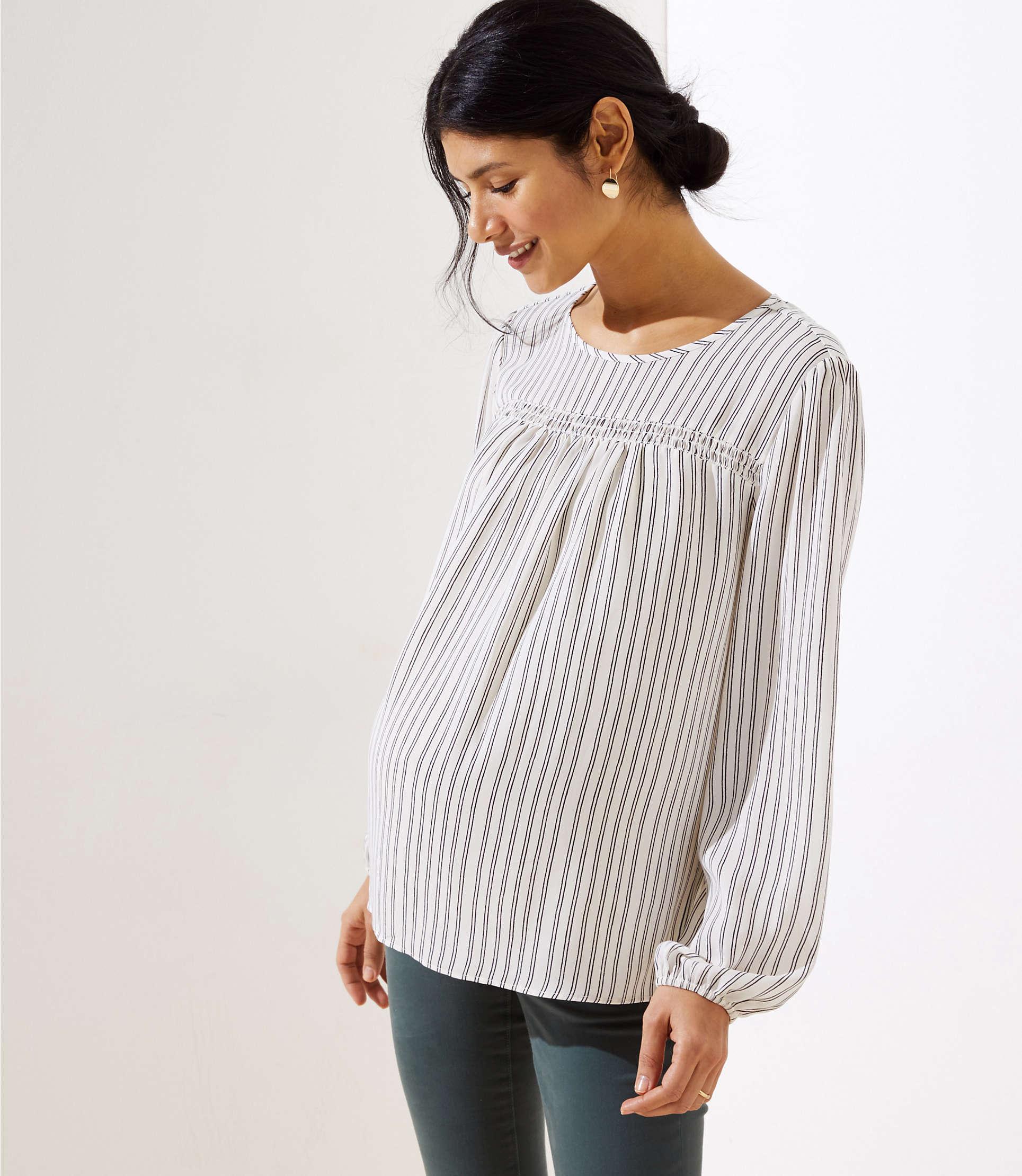 c8f38f4ebb84b7 Lyst - LOFT Maternity Striped Smocked Mixed Media Blouse in Black