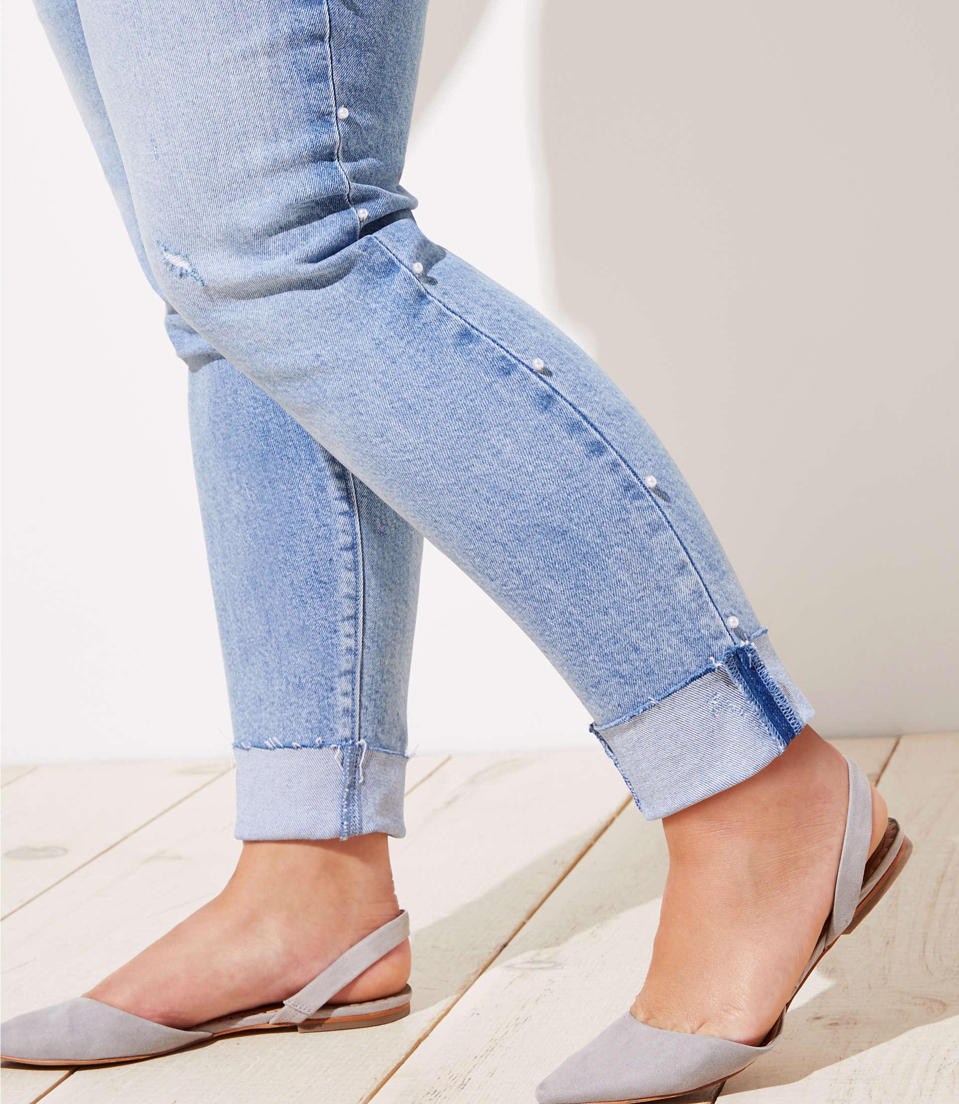 27961826b59bc LOFT - Blue Plus Pearlized Trim Flip Cuff Skinny Jeans In Staple Light  Indigo Wash -. View fullscreen