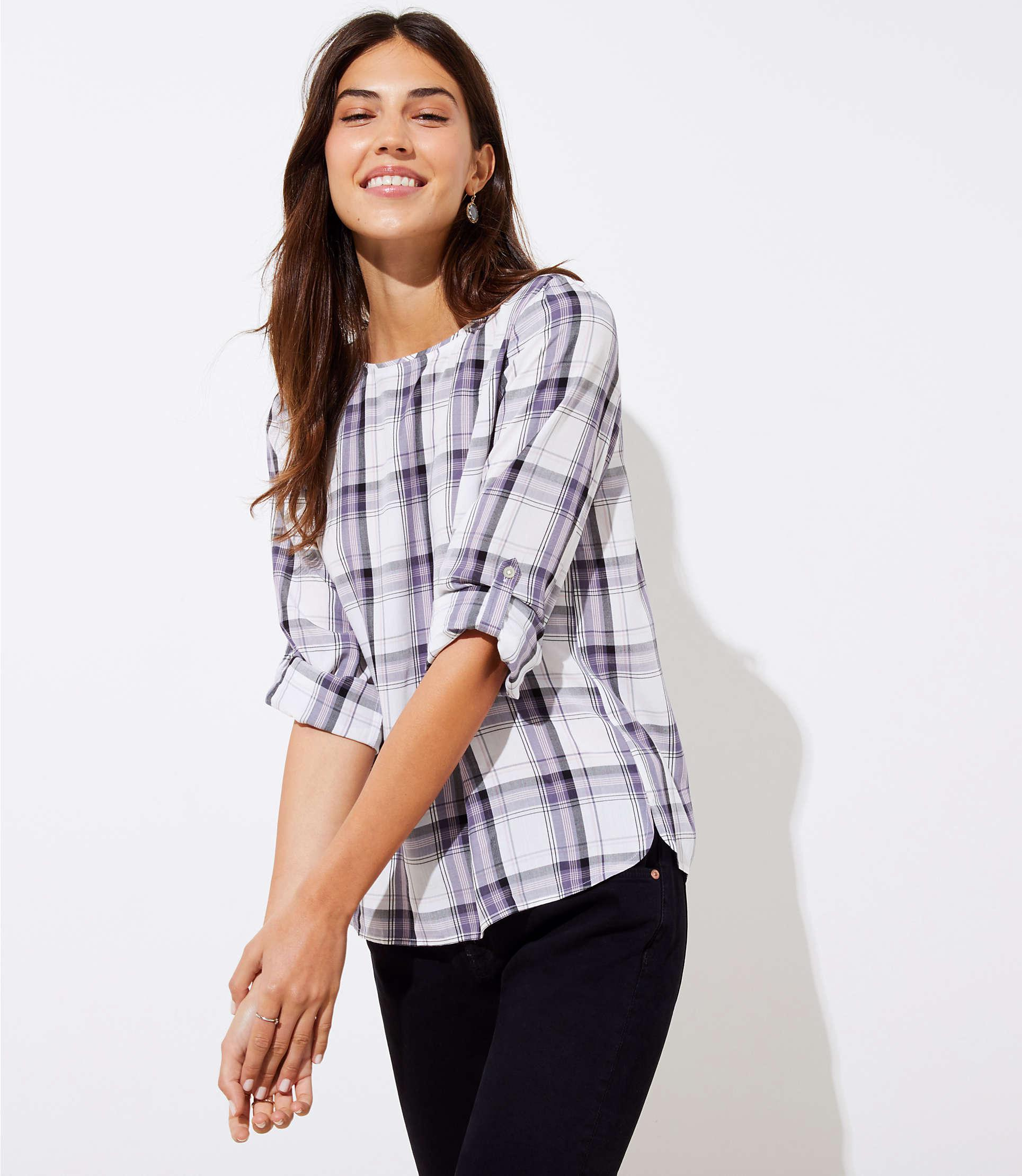 fd355ccf837 LOFT Plaid Tab Sleeve Blouse in White - Lyst
