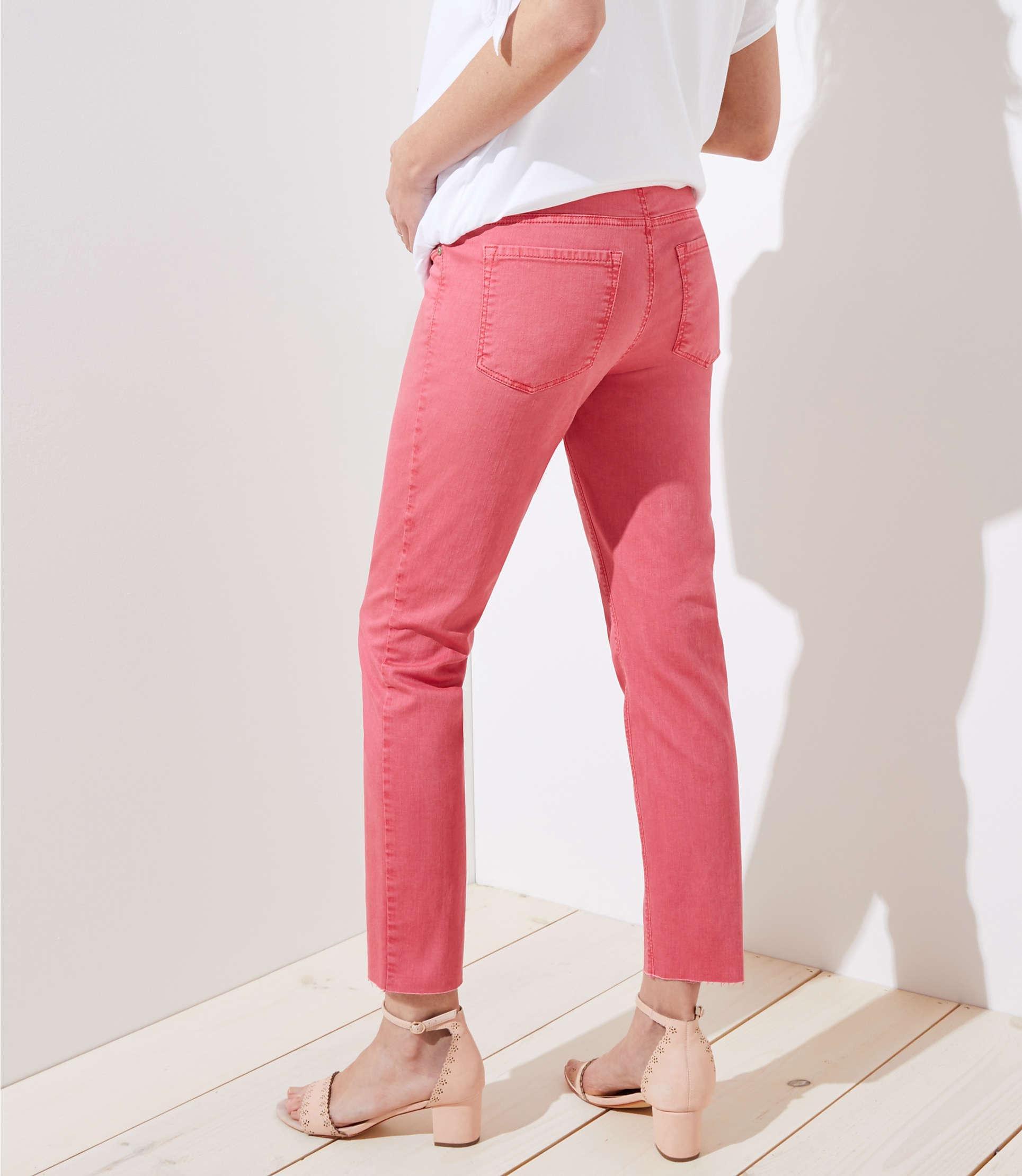 LOFT Denim Maternity Fresh Cut Skinny Crop Jeans In Passion Fruit