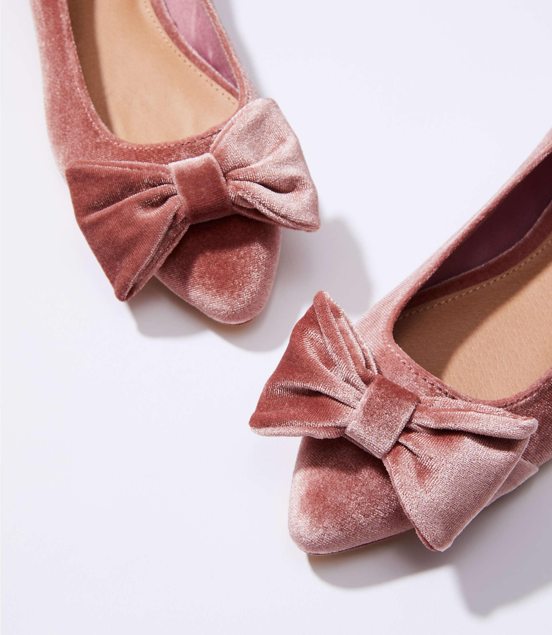 ef94ce8fe872 Lyst - LOFT Velvet Bow Flats in Pink