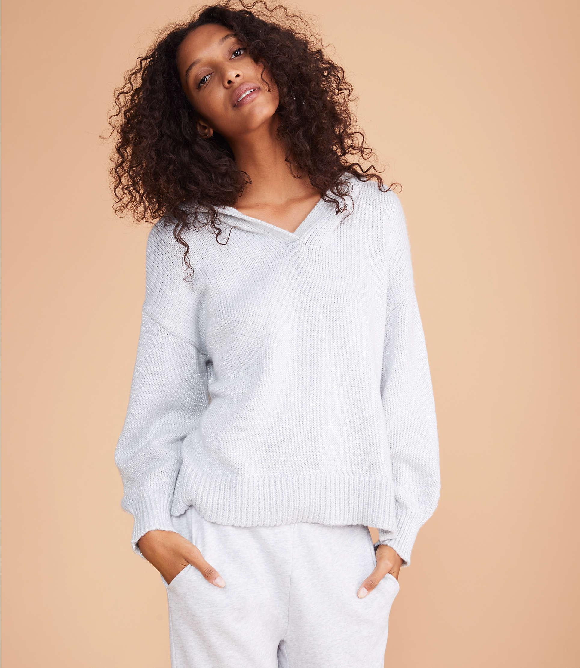 5ce2082c04f LOFT - Gray Lou   Grey Shimmer Hoodie Sweater - Lyst. View fullscreen
