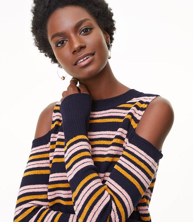 Loft Striped Chenille Cold Shoulder Sweater In Blue Lyst