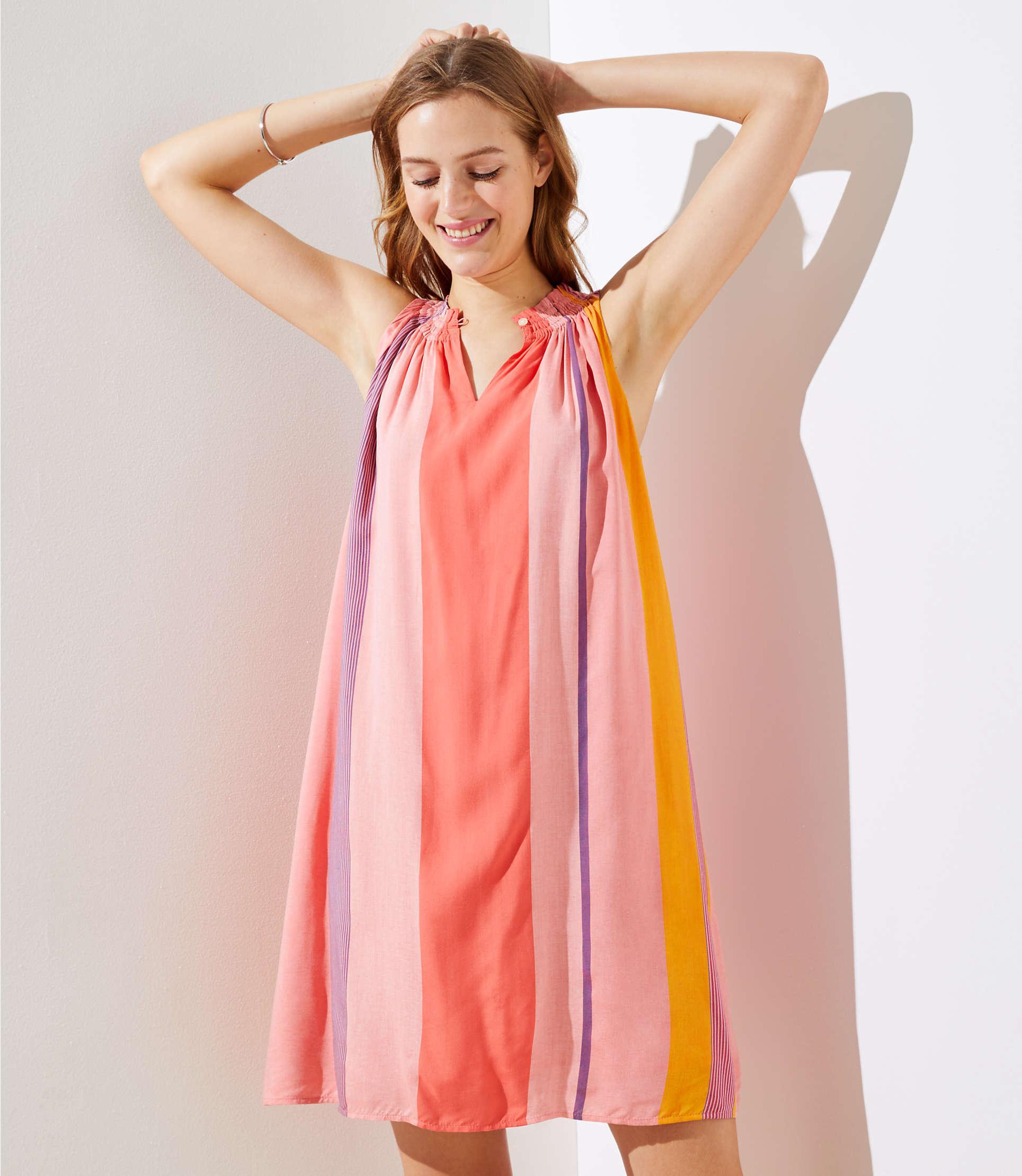 Lyst - Loft Tall Watercolor Stripe Halter Swing Dress in Pink