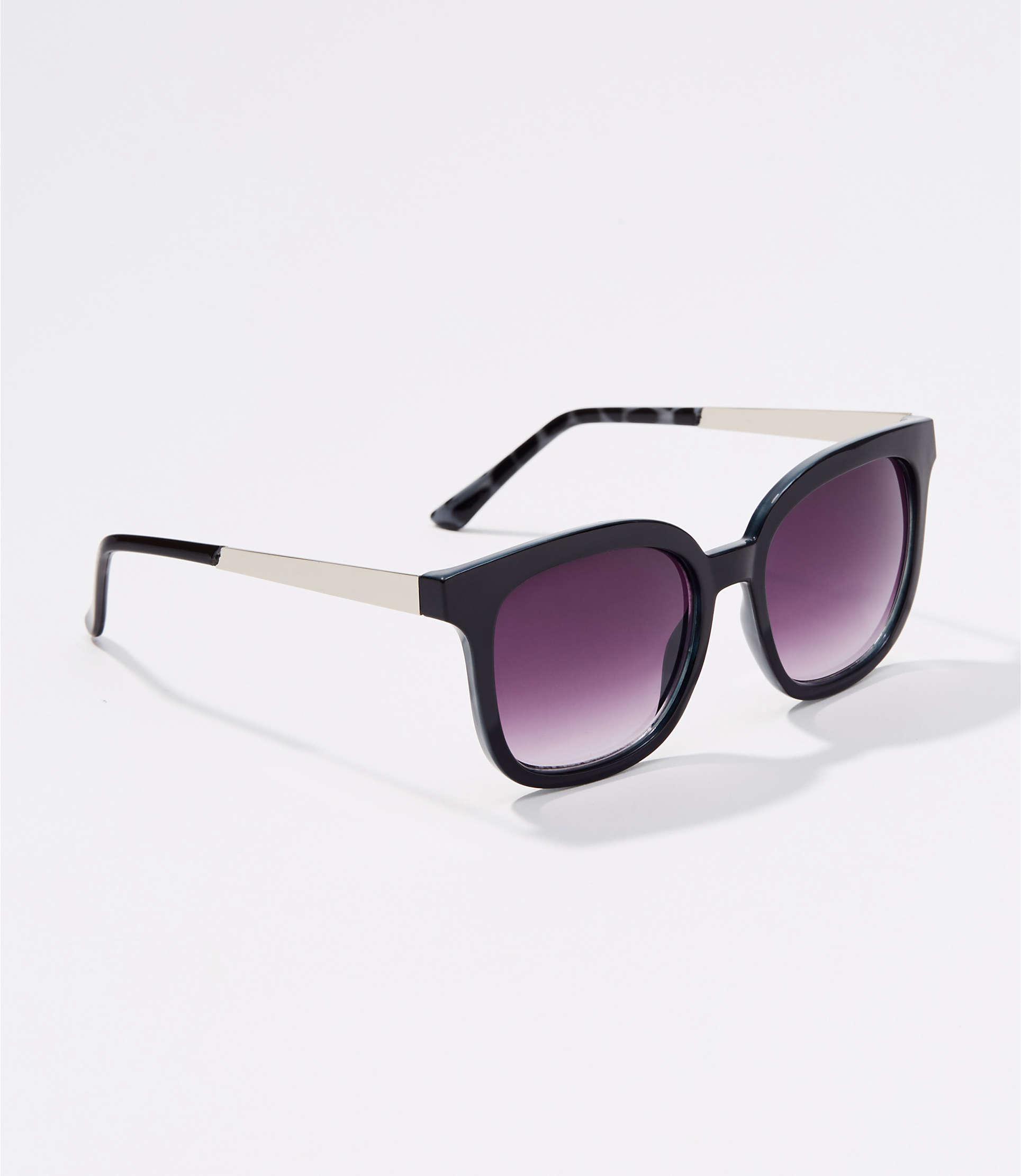 44d48289f333 Lyst - LOFT Metallic Arm Square Sunglasses in Black