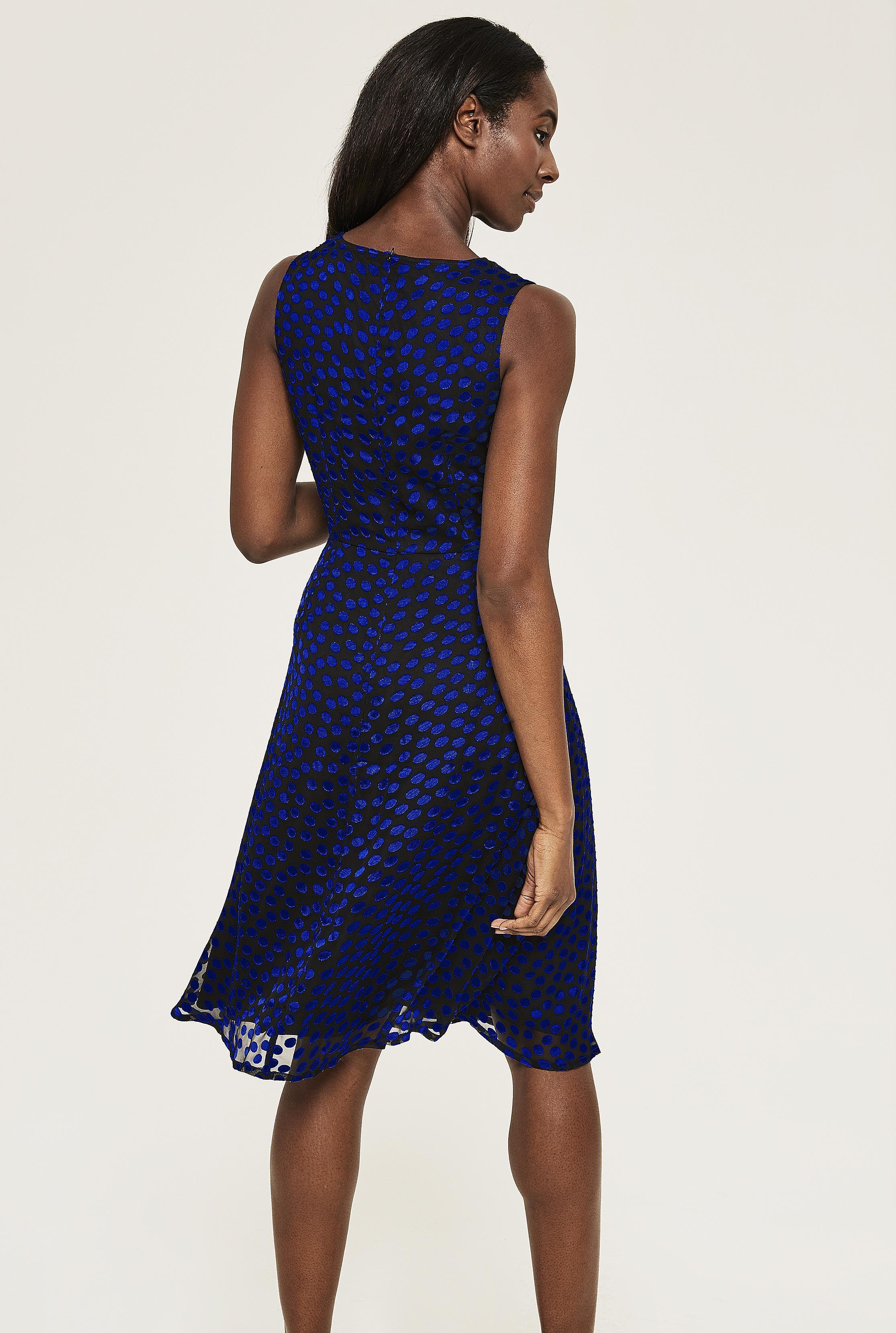 f732ca0dbfd Long Tall Sally Tall Flocked Spot Fit And Flare Dress in Blue - Lyst