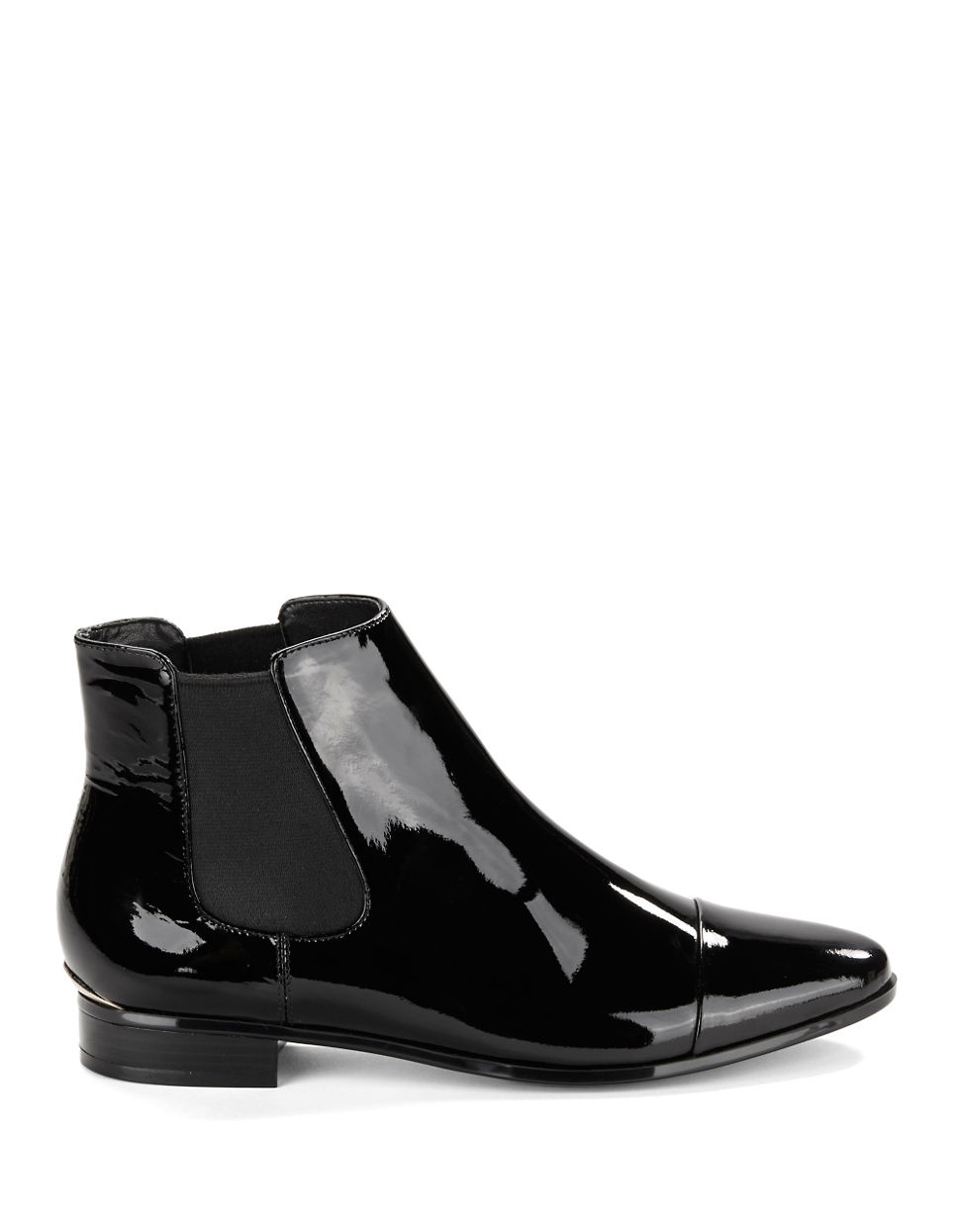 Calvin klein Finilla Faux Patent Leather Booties in Black ...