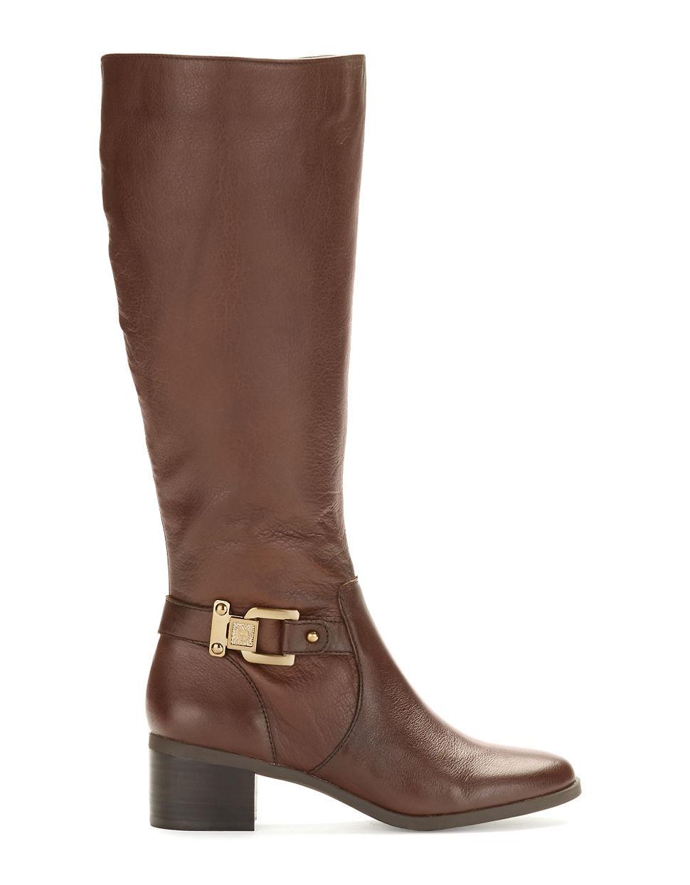 klein joetta wide calf boots in brown lyst