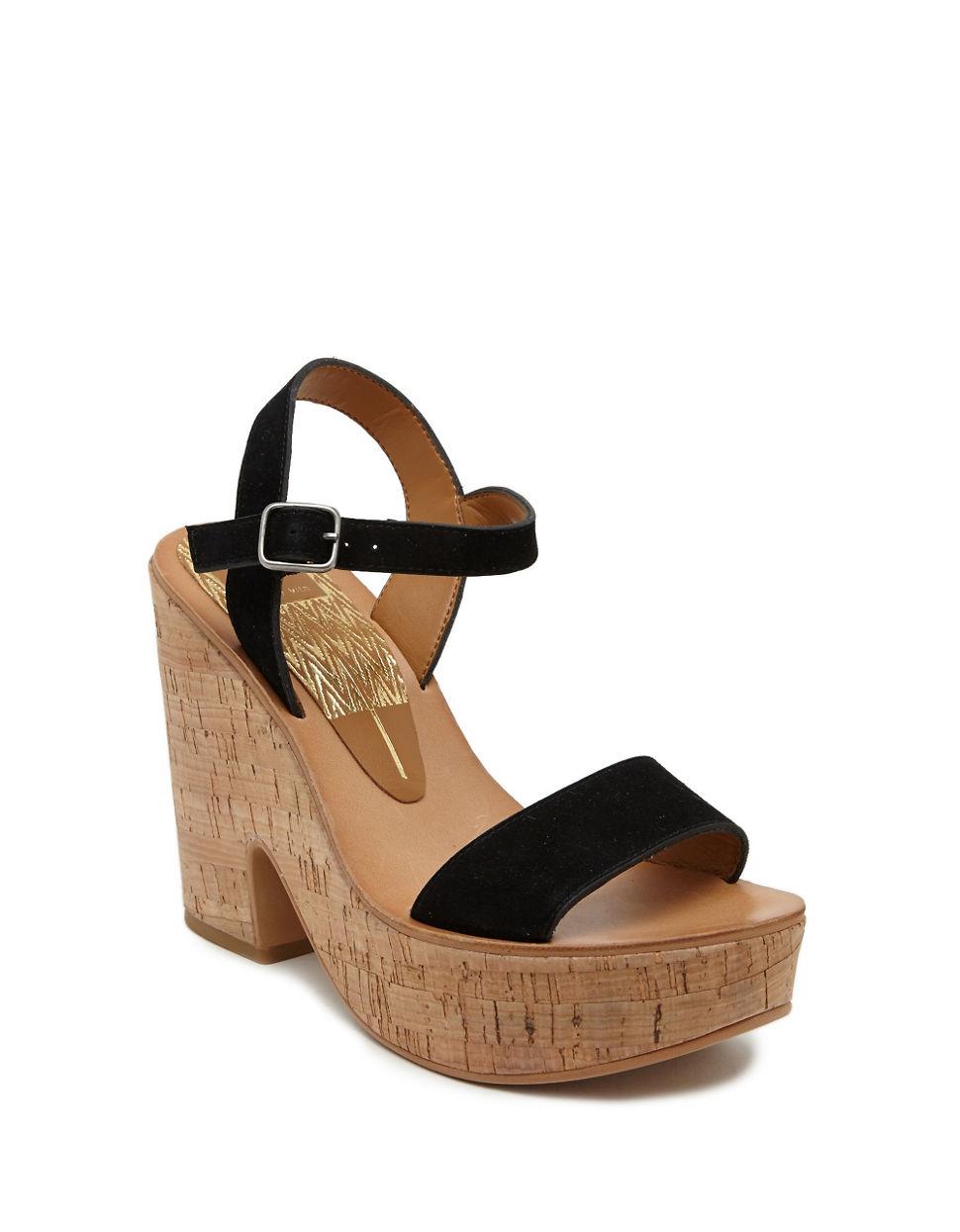 dolce vita randi suede platform sandals in black lyst