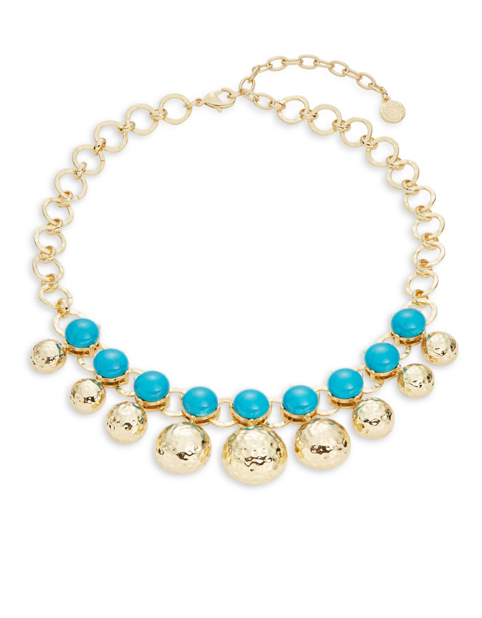 r j graziano hammered goldtone and link necklace in