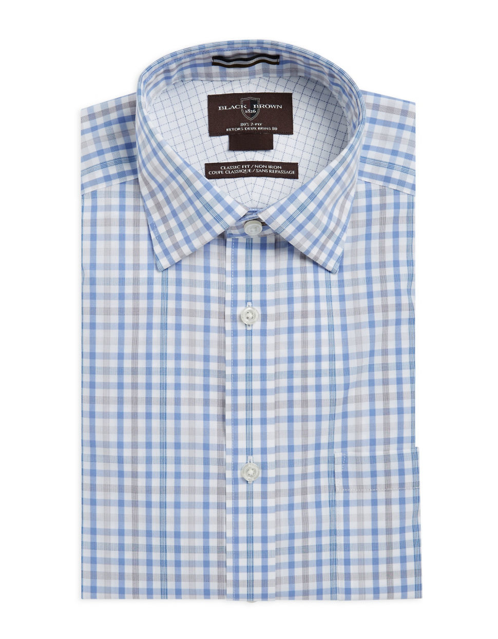 Lyst black brown plaid dress shirt in blue for men for Mens black plaid dress shirt