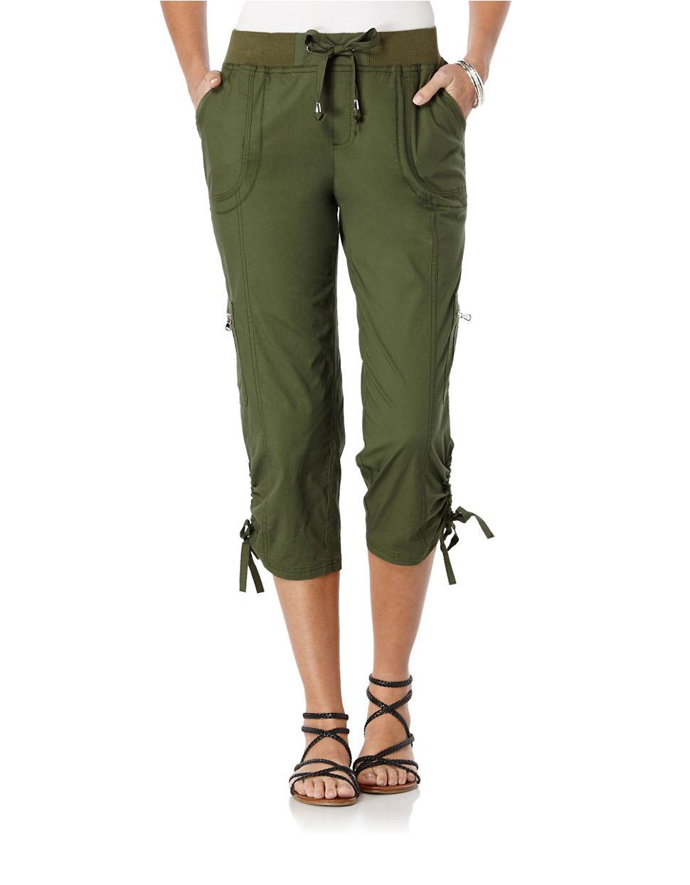 Rafaella Petite Cargo Capri Pants In Green Lyst