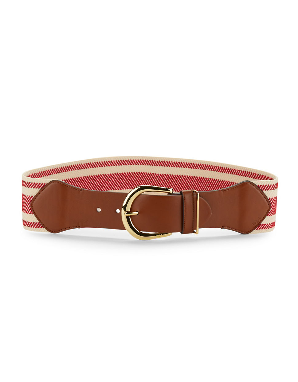 by ralph stretch striped belt in brown lyst
