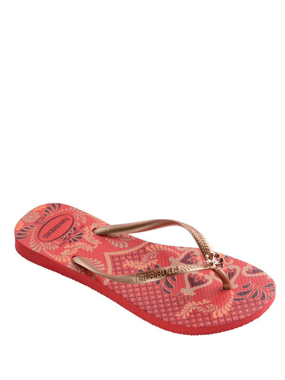 b718cb34d Lyst - Havaianas Peacock Paisley Slim Thematic Flip Flops in Gray