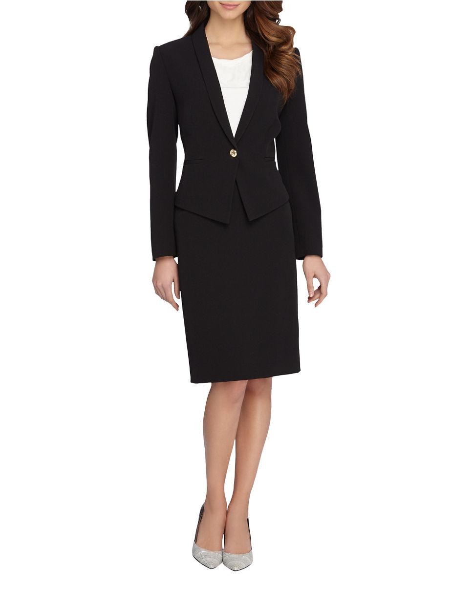 Tahari Plus 2-piece Jacket And Skirt Set in Black | Lyst