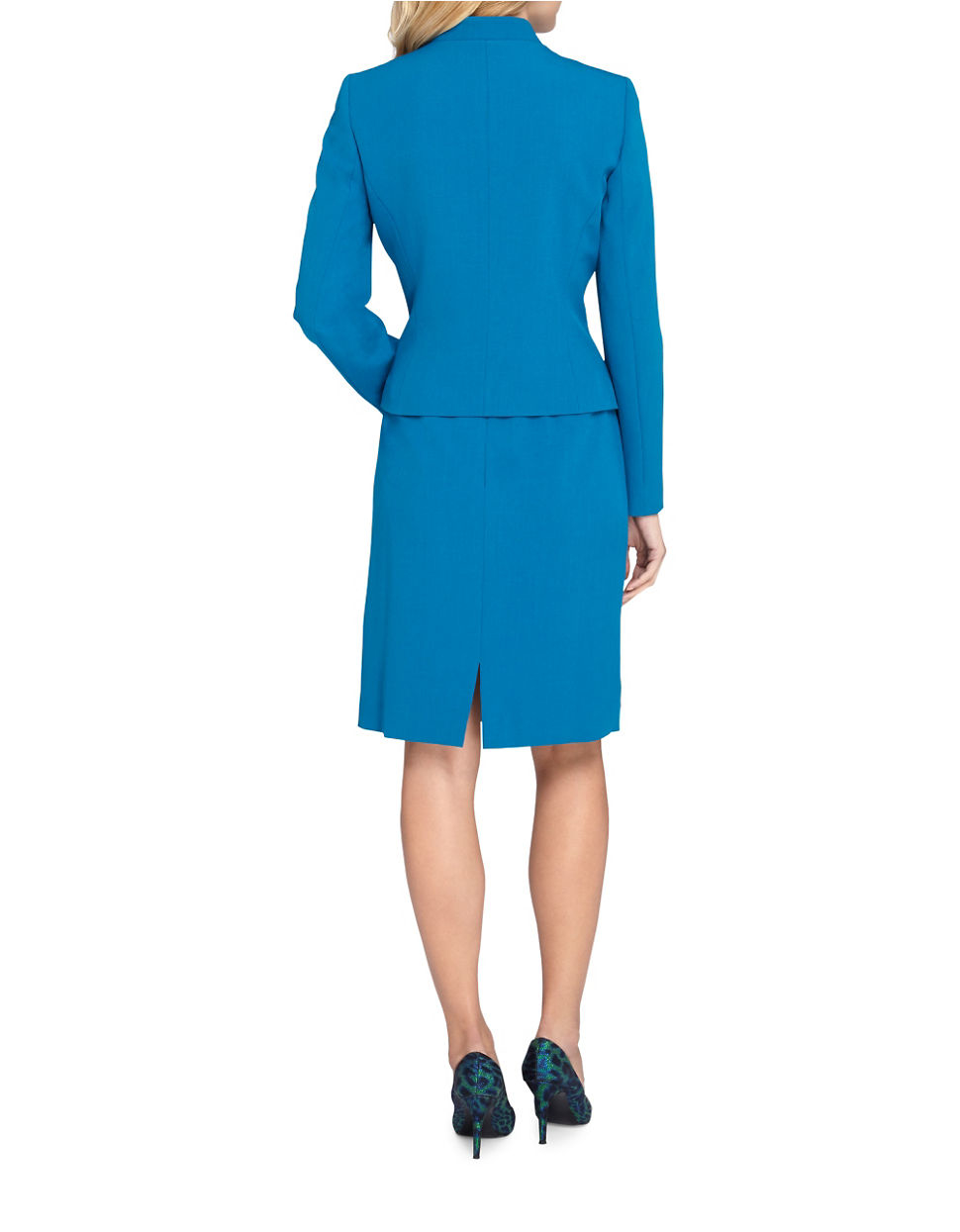 tahari starneck jacket and skirt suit in blue lyst