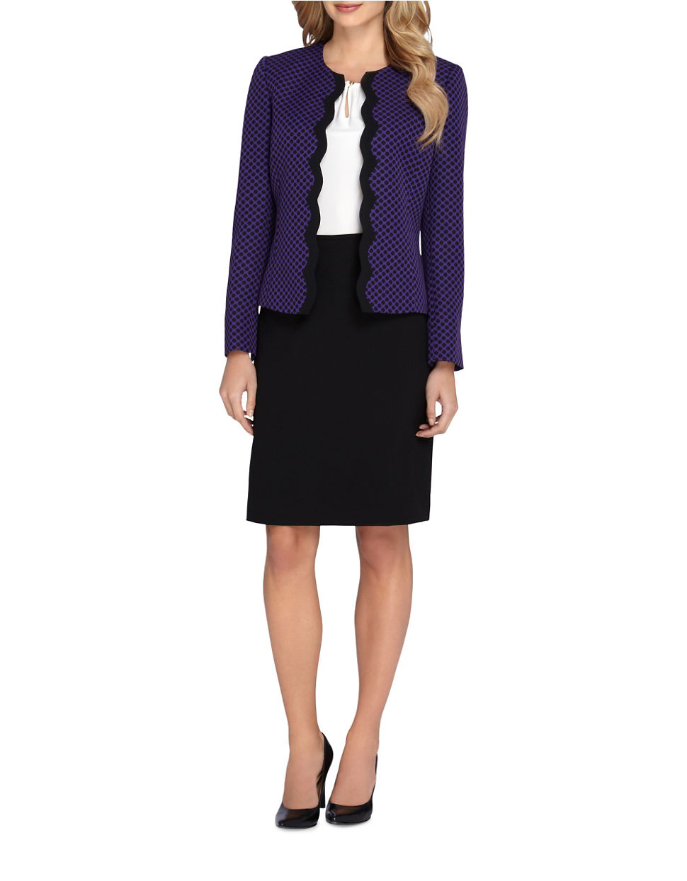 tahari scalloped jacket and pencil skirt suit set in black