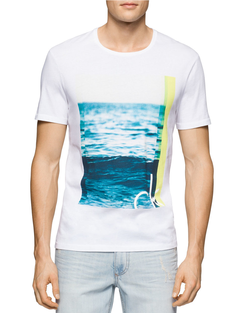 calvin klein jeans the wave t shirt in white for men lyst. Black Bedroom Furniture Sets. Home Design Ideas