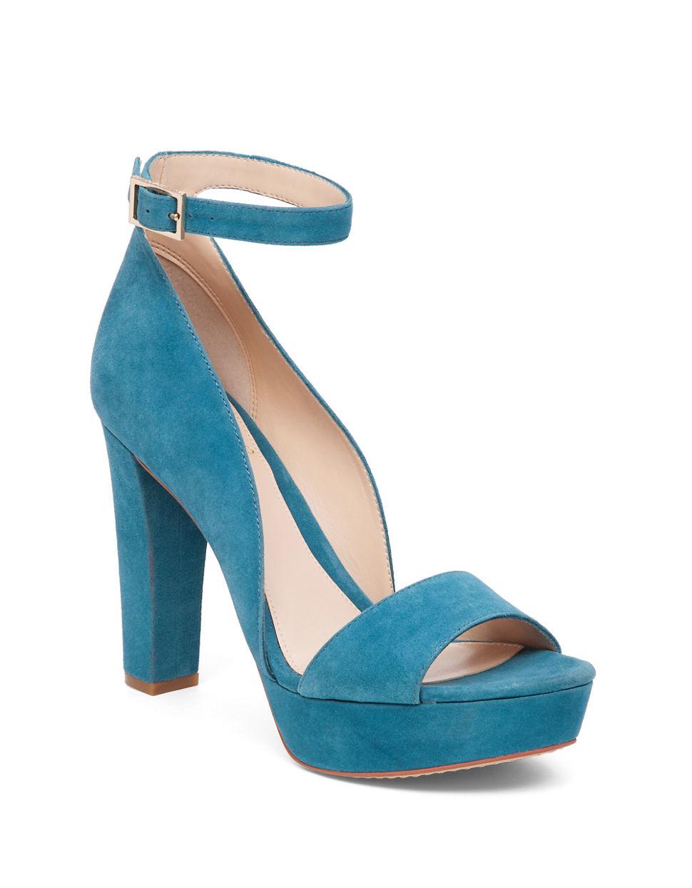 vince camuto sakari suede platform sandals in blue lyst