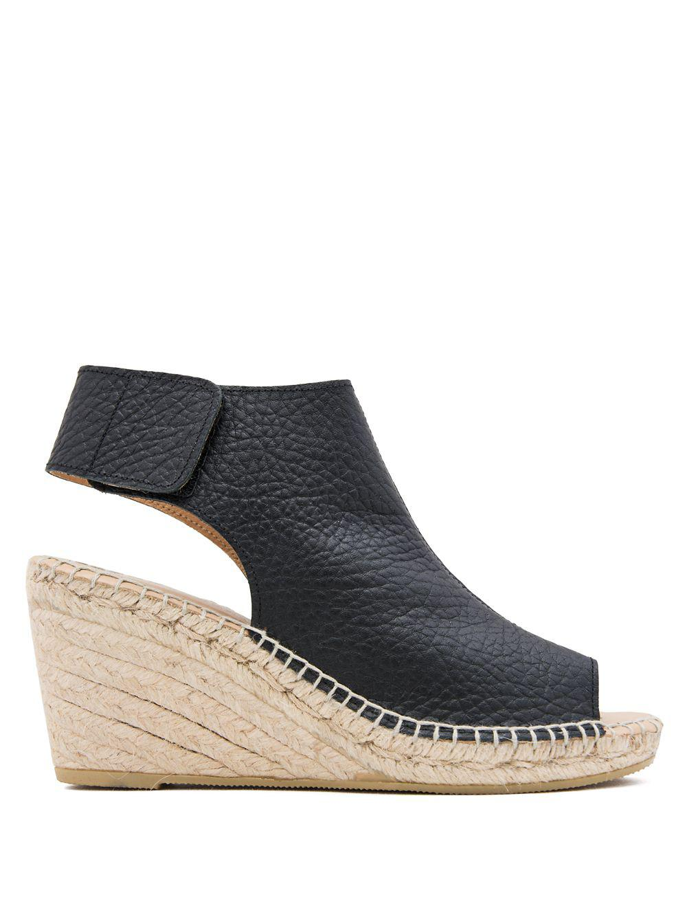 ee7cf7afdf2 Women's Black Florence Leather And Jute Wedge Espadrilles