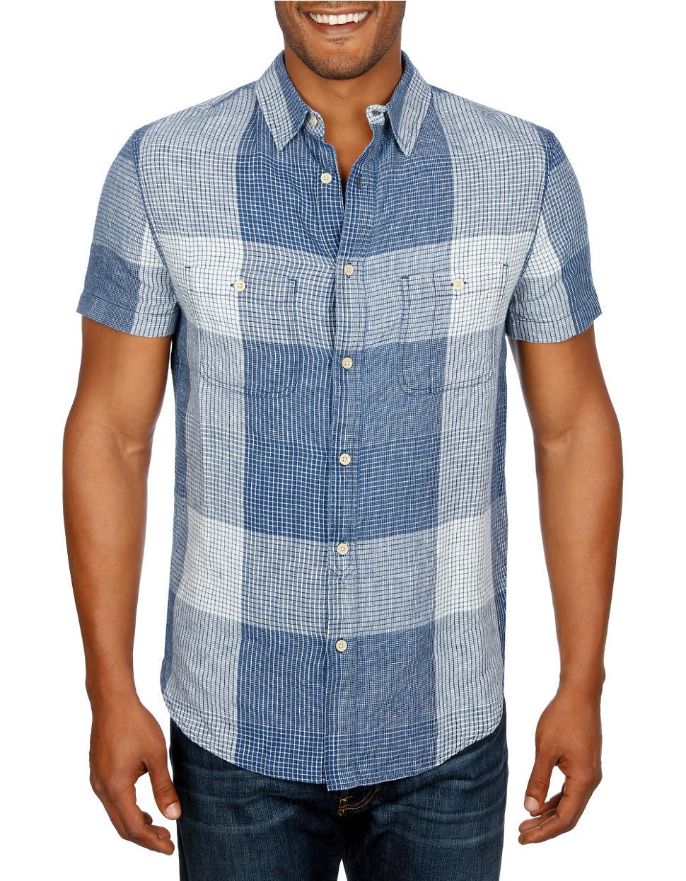 Lyst lucky brand mason workwear shirt in blue for men for Mason s men s shirts