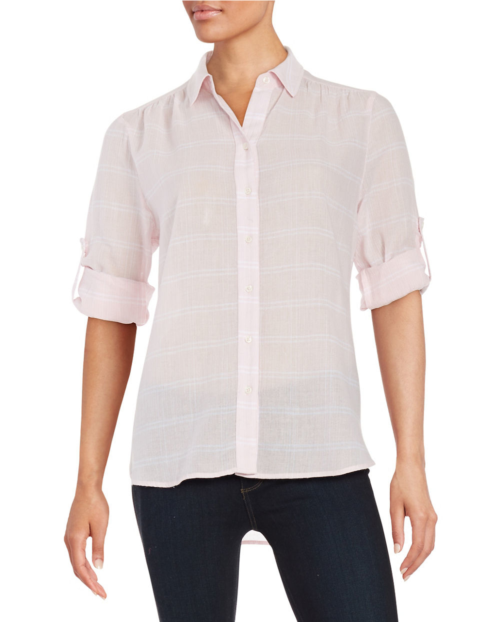 Lord Taylor Plaid Button Front Shirt In Pink Lyst