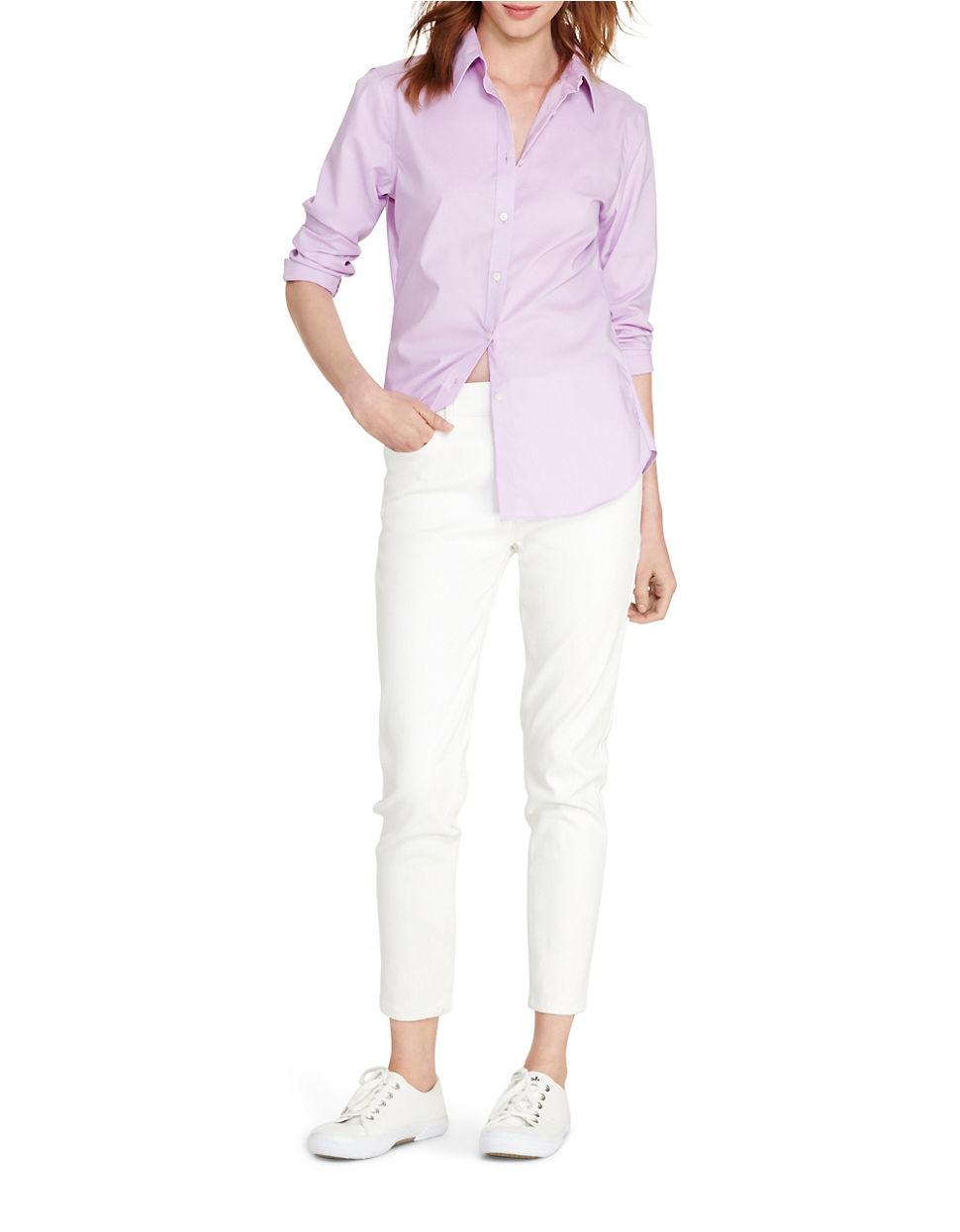 Lyst Lauren By Ralph Lauren Cotton Button Down Shirt In Pink