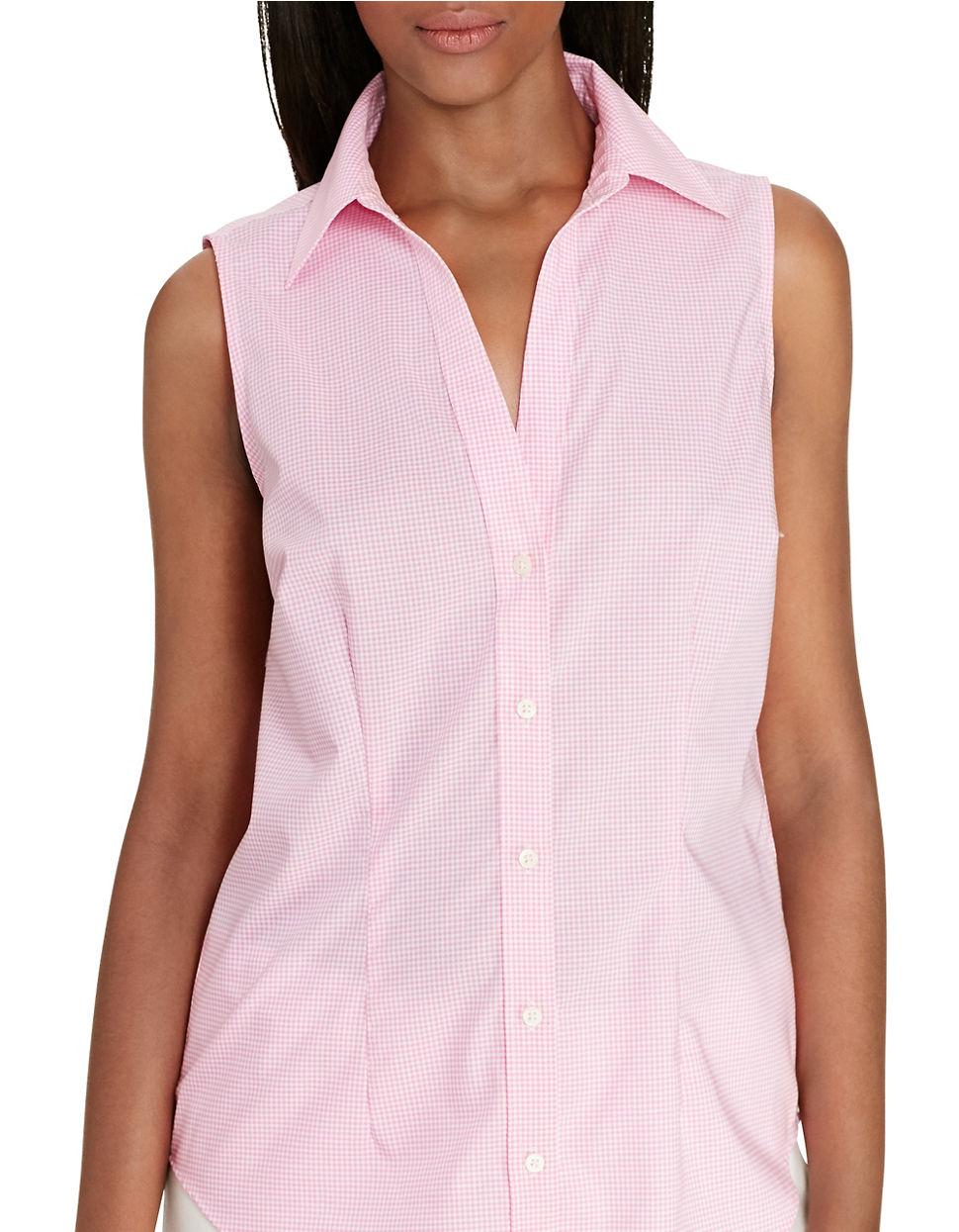 Lauren By Ralph Lauren Gingham Sleeveless Shirt In Pink Lyst