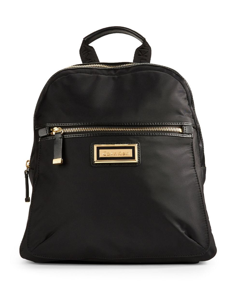 calvin klein smooth nylon backpack in black lyst. Black Bedroom Furniture Sets. Home Design Ideas