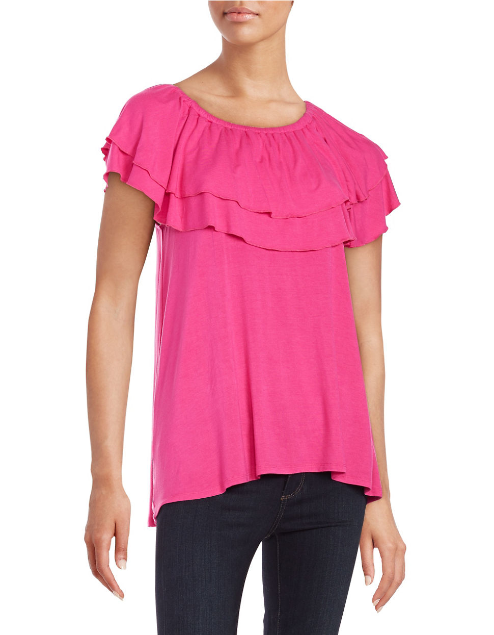 Lord Taylor Ruffled Off The Shoulder Top In Black Lyst