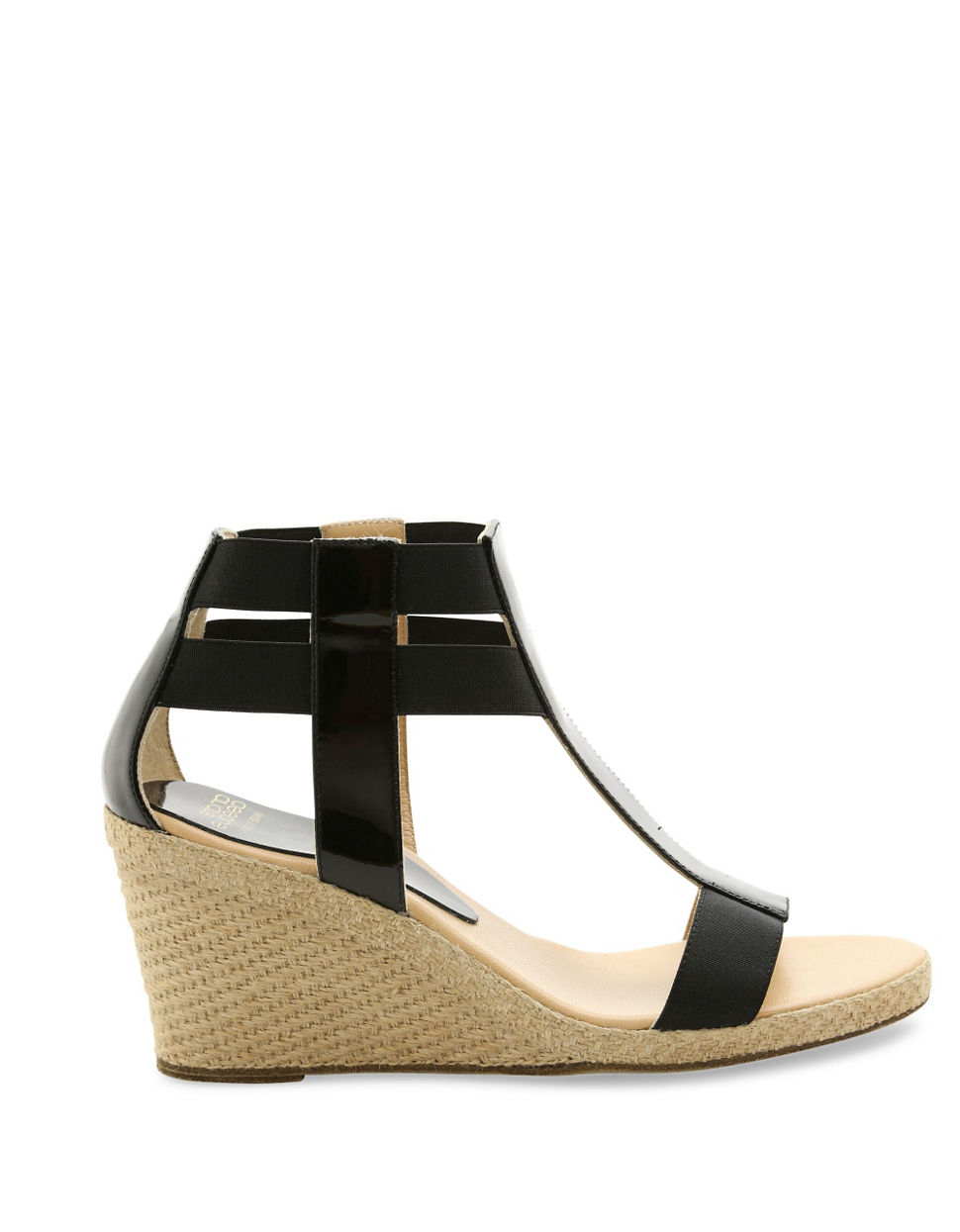 Andre assous Pippi Patent Leather Wedge Sandals in Black ...