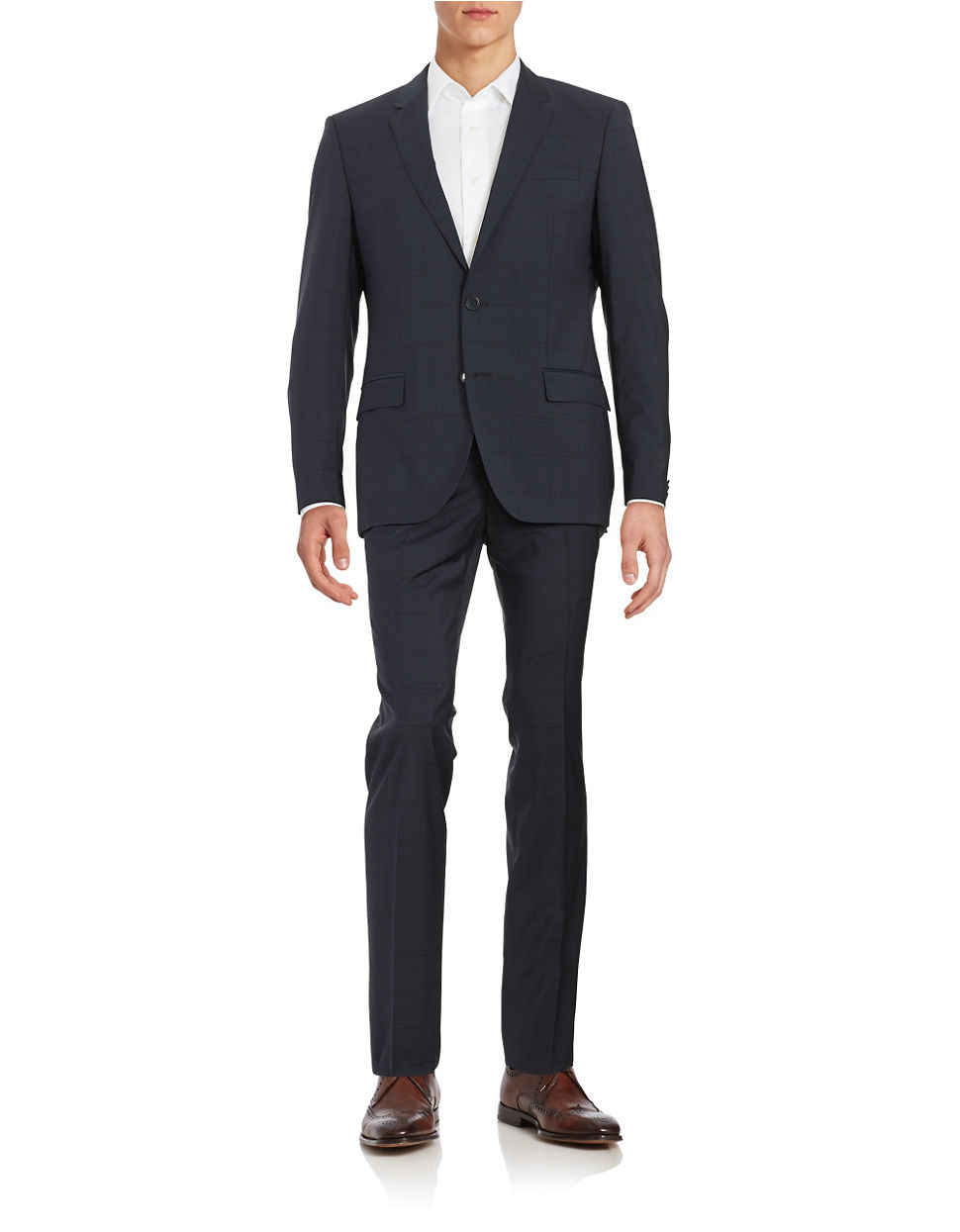 hugo two plaid wool suit set in blue for lyst